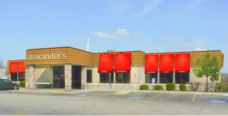 A rendering from Aria Group Architects, Inc., shows the exterior of Alexander's restaurant in Elgin after renovation.