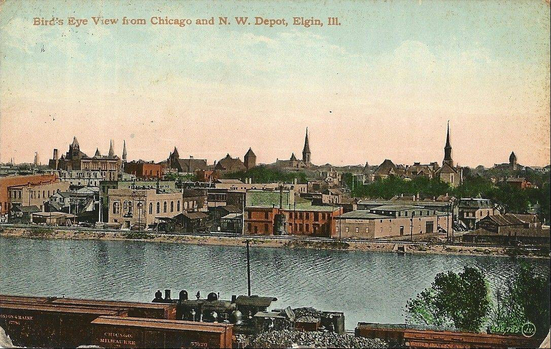 This early 1900s postcard shows how Elgin's downtown buildings literally turned their backs on the river as the city grew.