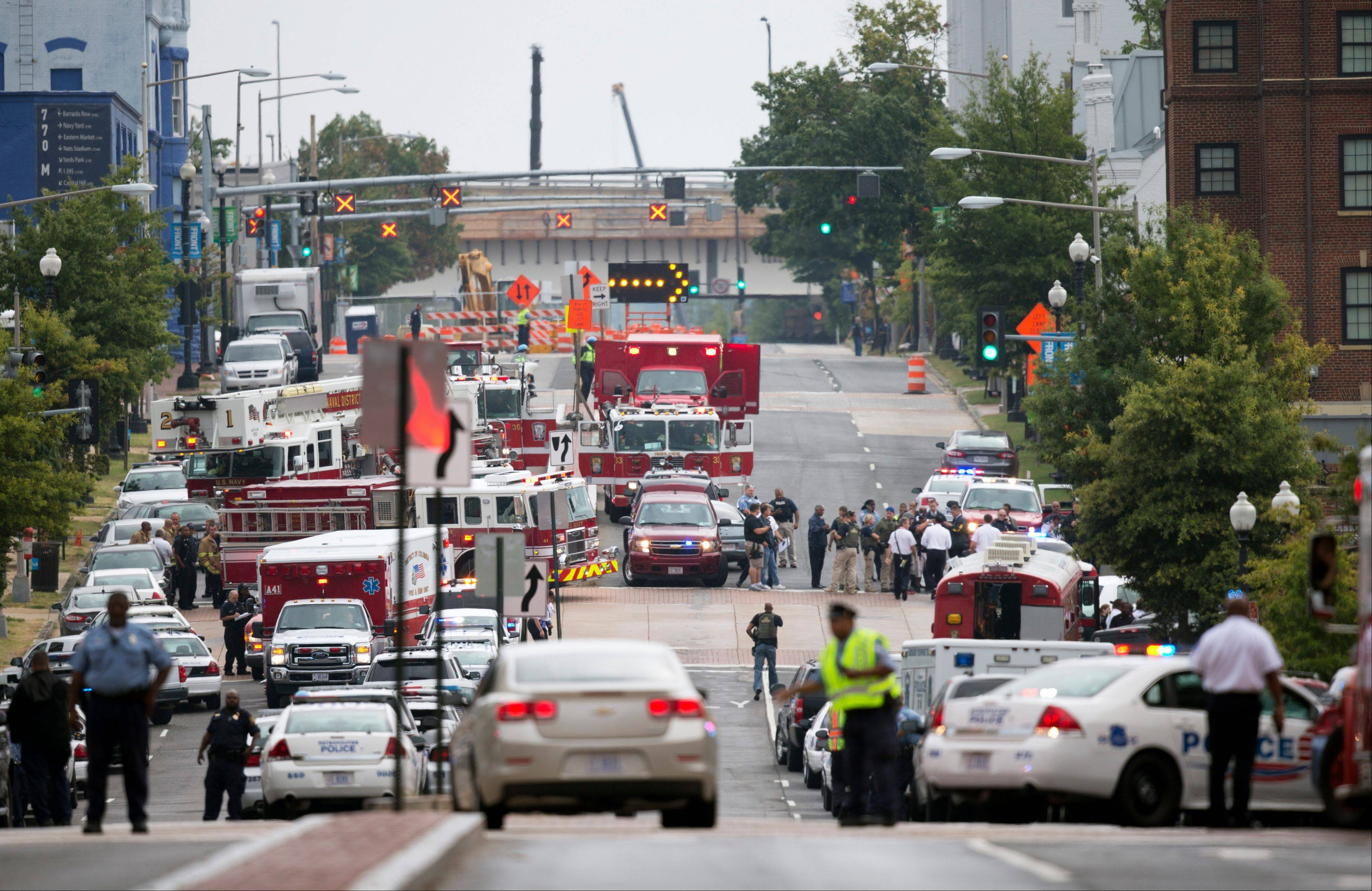 Emergency personnel respond to a reported shooting at the Washington Navy Yard, Monday.
