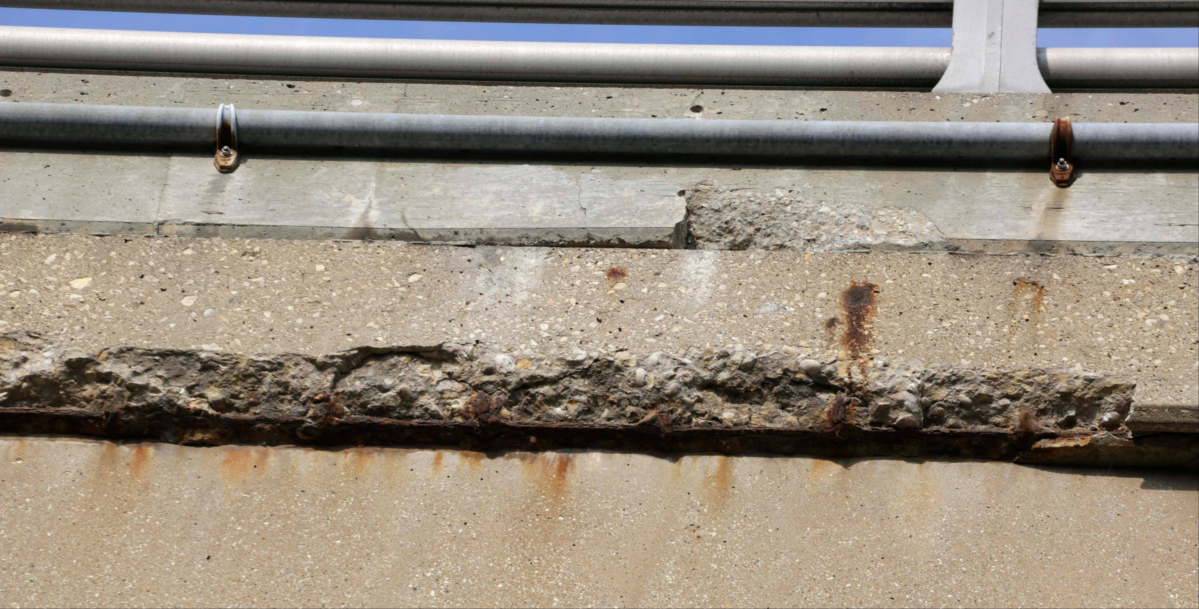 Concrete on the Western Avenue bridge over the Cal-Sag Channel in Blue Island is chipped. The bridge is in the state's multiyear plan for replacement of its south approach spans