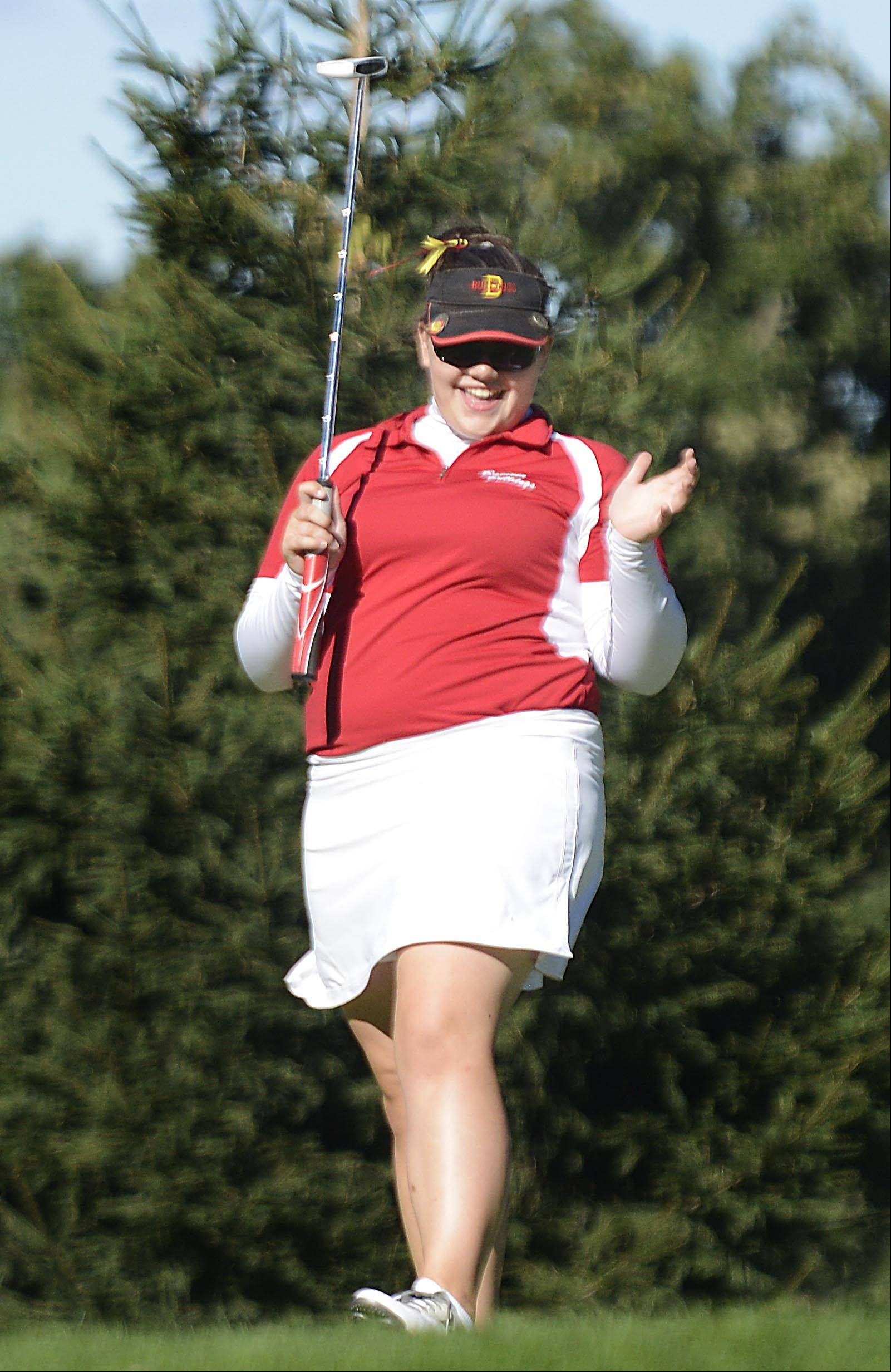 Becca Hasemann of Batavia reacts to her putt on No. 9 Monday at the Elgin Country Club girls golf invitational.