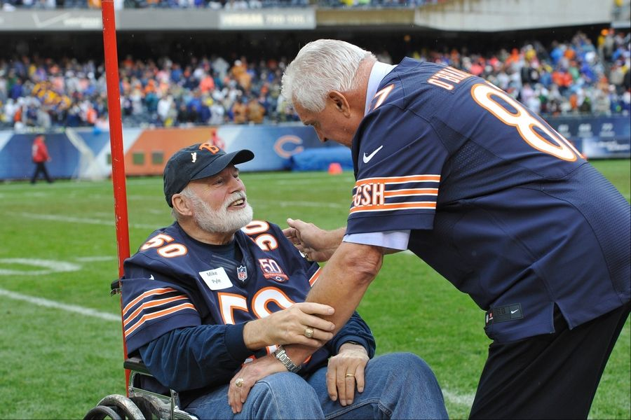 Former Bears players Mike Pyle (50) and Ed O'Bradovich share a moment during halftime of Sunday's Bears game. Their 1963 Bears team was honored for winning the NFL Championship over the New York Giants 50 years ago.