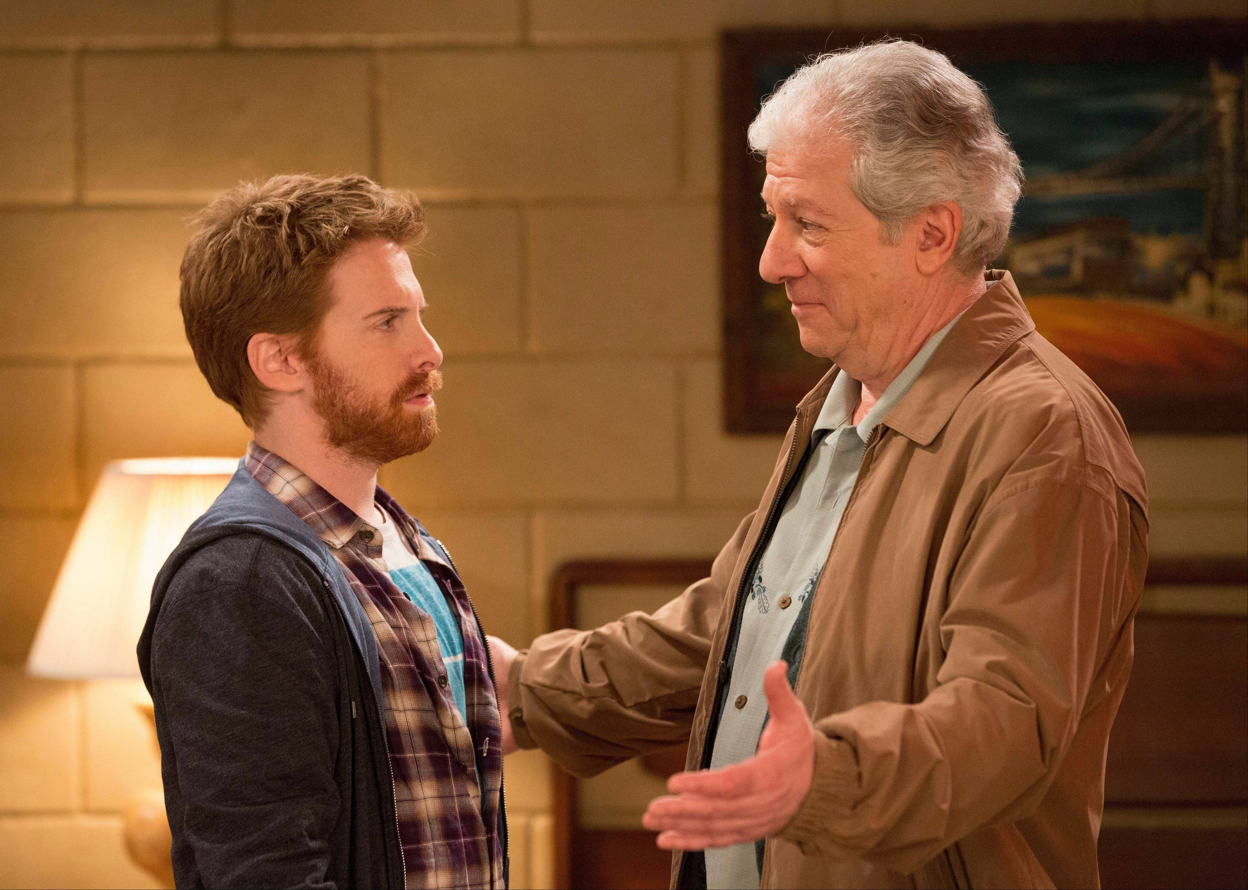 Seth Green, left, and Peter Riegert in a scene from �Dads, a new Fox sitcom.