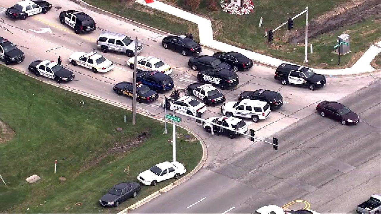COURTESY OF ABC7 A misunderstanding over a routine fire drill lead to a 911 call and a large police response Tuesday at a ComEd building in Oakbrook.