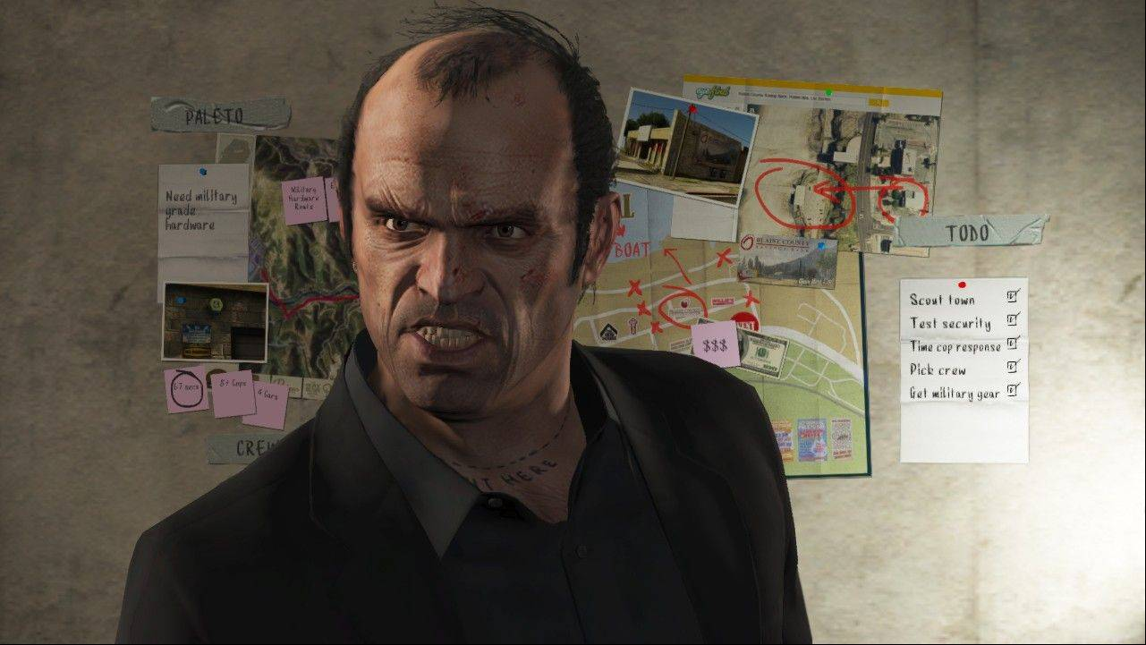 "Instead of one protagonist, players switch between three criminals: veteran Michael, twisted Trevor and newbie Franklin in ""Grand Theft Auto V."""