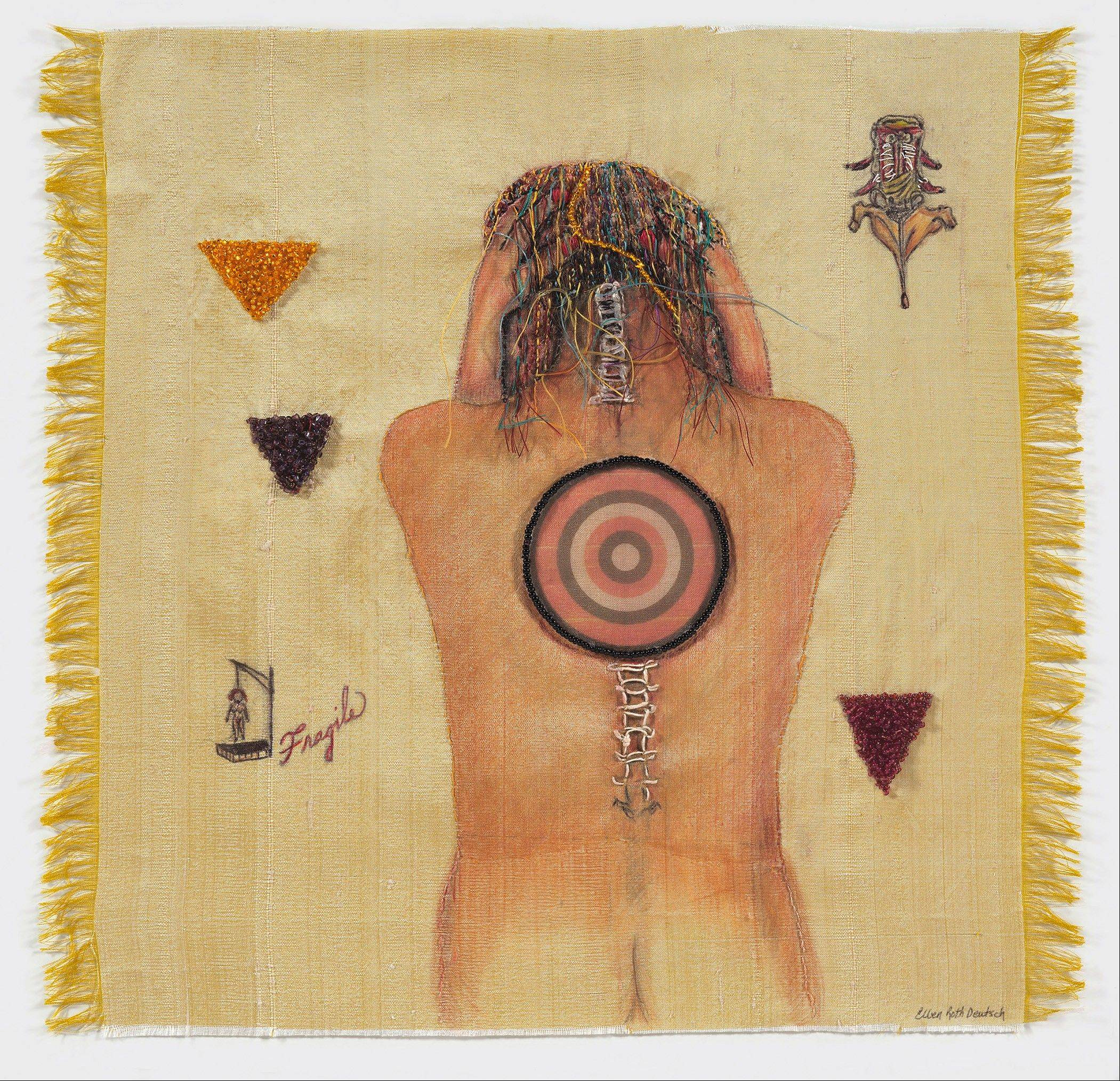 "Ellen Roth Deutsch, ""Targeted,"" 2013. Mixed-silk, beading thread, beads, transfer material, colored pencil, 12 x 12 inches."