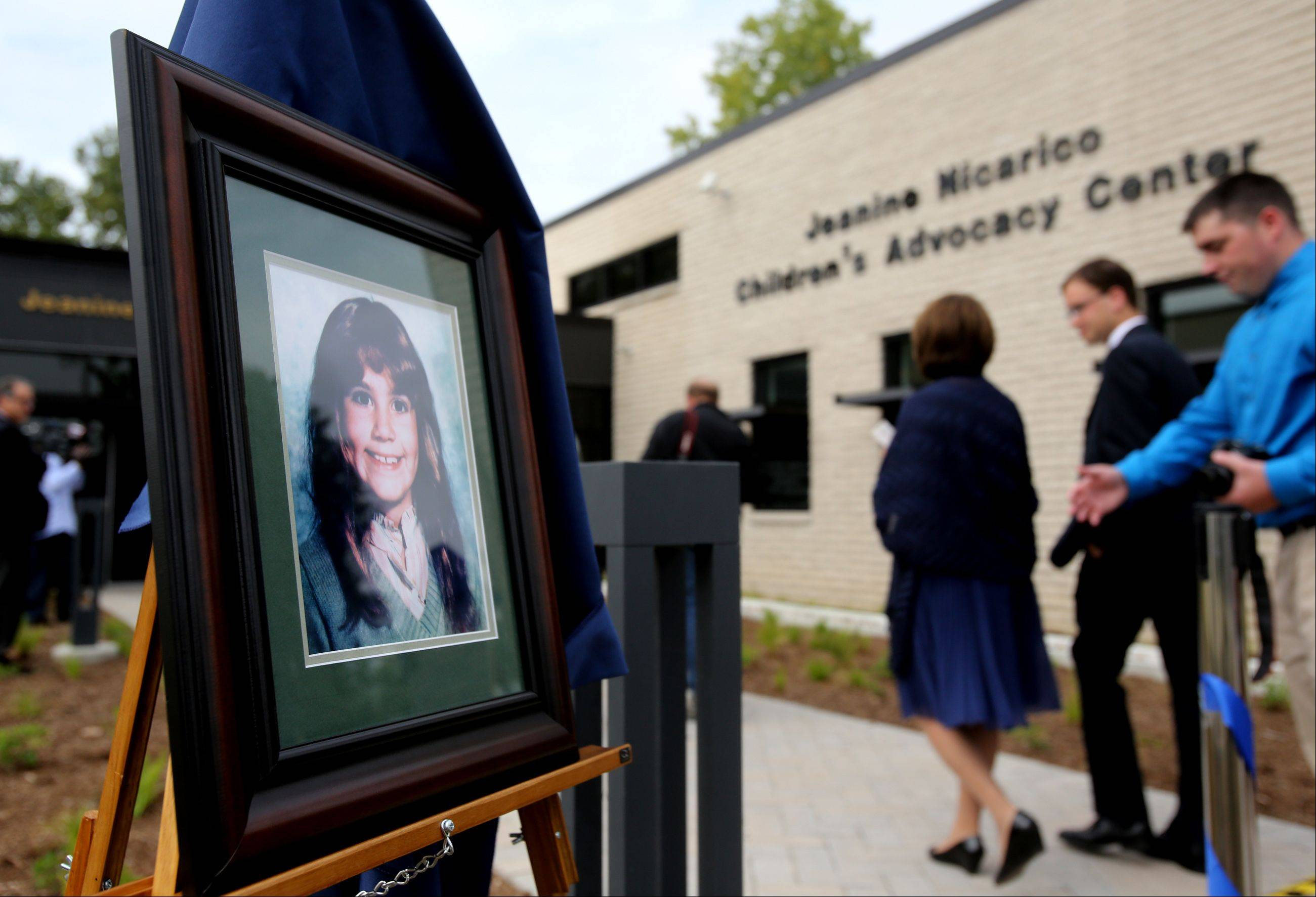 Jeanine Nicarico and her 'endearing, dimpled smile' is memorialized outside the new Jeanine Nicarico Children's Advocacy Center in Wheaton.