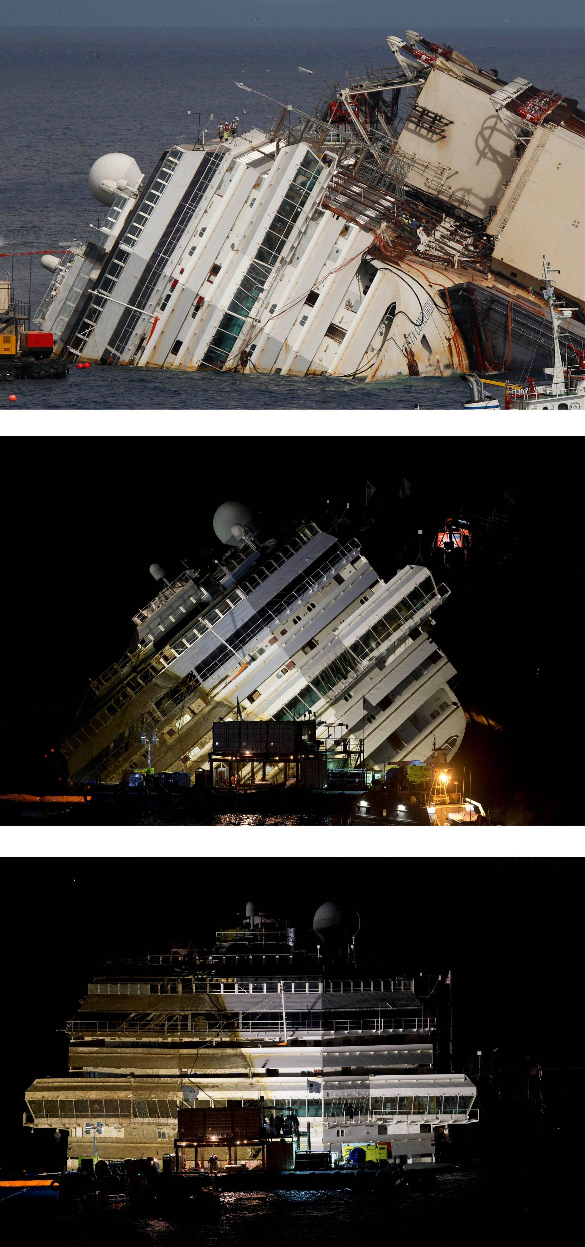 "This combination of photos shows the Costa Concordia before, top, during, center, and after an operation was competed to lift the cruise ship to an upright position, on the Tuscan Island of Giglio, Italy. The crippled ship was pulled completely upright early Tuesday, Sept. 17, 2013, after a complicated, 19-hour operation to wrench it from its side where it capsized last year off Tuscany, with officials declaring it a ""perfect"" end to a daring and unprecedented engineering feat."