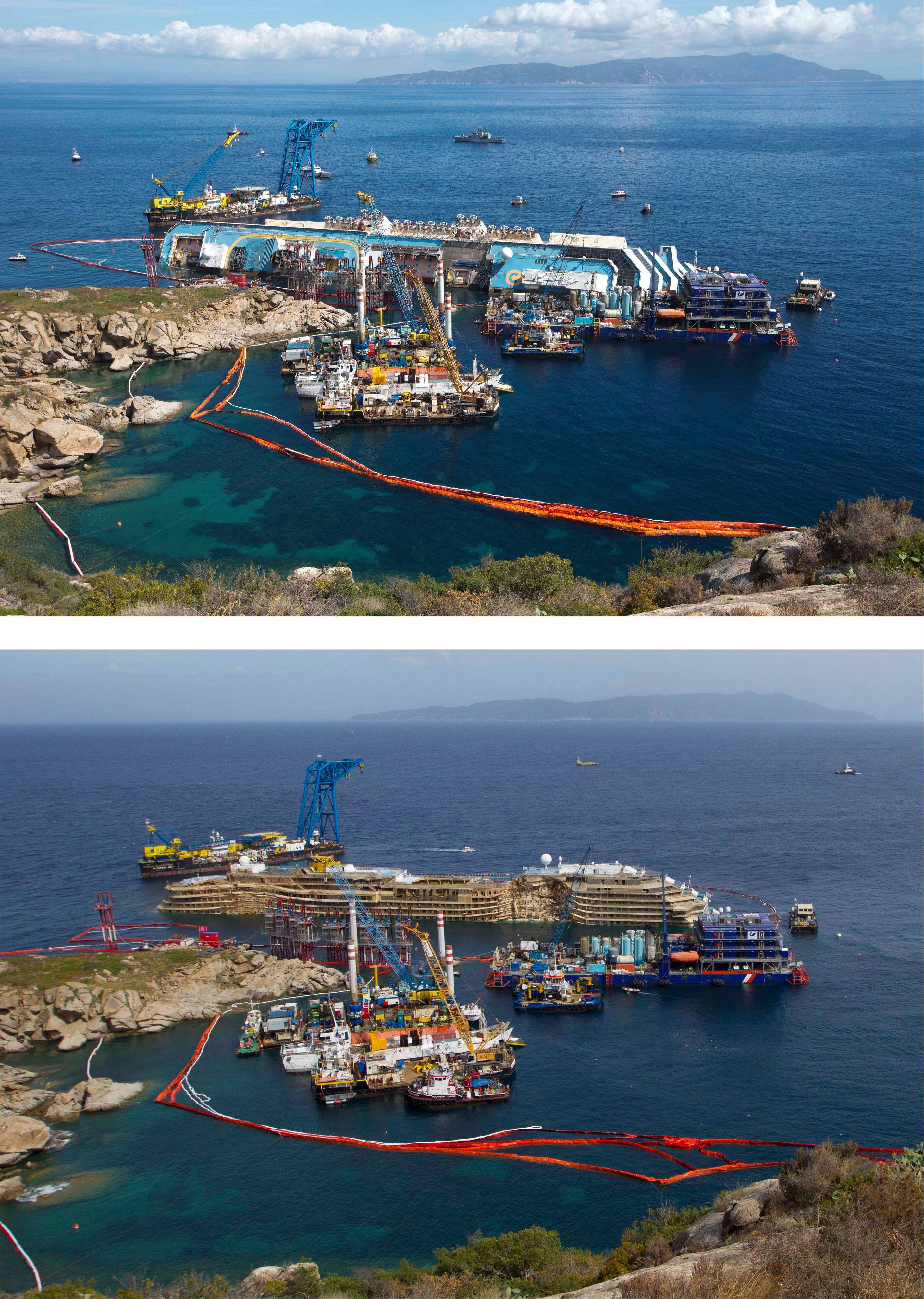This two-photo combo shows the Costa Concordia ship on the Tuscan Island of Giglio, Italy. Top photo was taken on Monday, Sept. 16, 2013 while bottom photo was taken on Tuesday, Sept. 17, 2013. Engineers declared success on Tuesday as the Costa Concordia cruise ship was pulled completely upright during a complicated, 19-hour operation to wrench it from its side where it capsized last year off Tuscany, an unprecedented feat that sets the stage for it to be towed away next year.