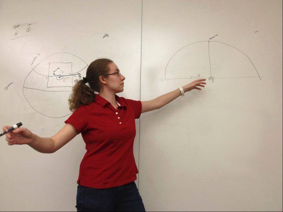 Kimberly Dauber explains an astronomy problem at the Summer Science Program.