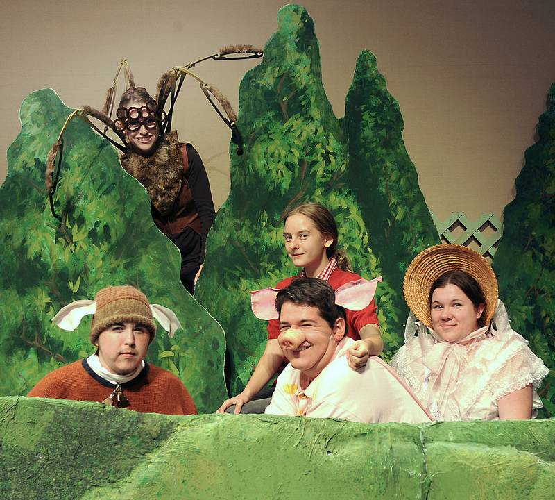 "Recreating the famous Garth Williams cover illustration for the book ""Charlotte's Web"" are members of the cast: North Rory Homeward as the Sheep, Sara Moss as Charlotte, Lillian Michaud as Fern, Rodrigo Arreola as Wilbur and Caitlin Cone as Goose."