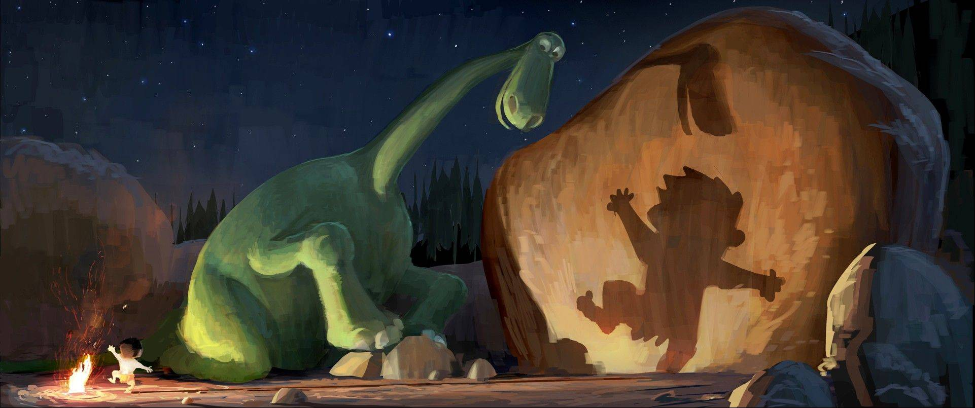 This publicity image shows Arlo, a 70-foot-tall teenage Apatosaurus, and a young human boy named Spot in a concept art image for �The Good Dinosaur.�