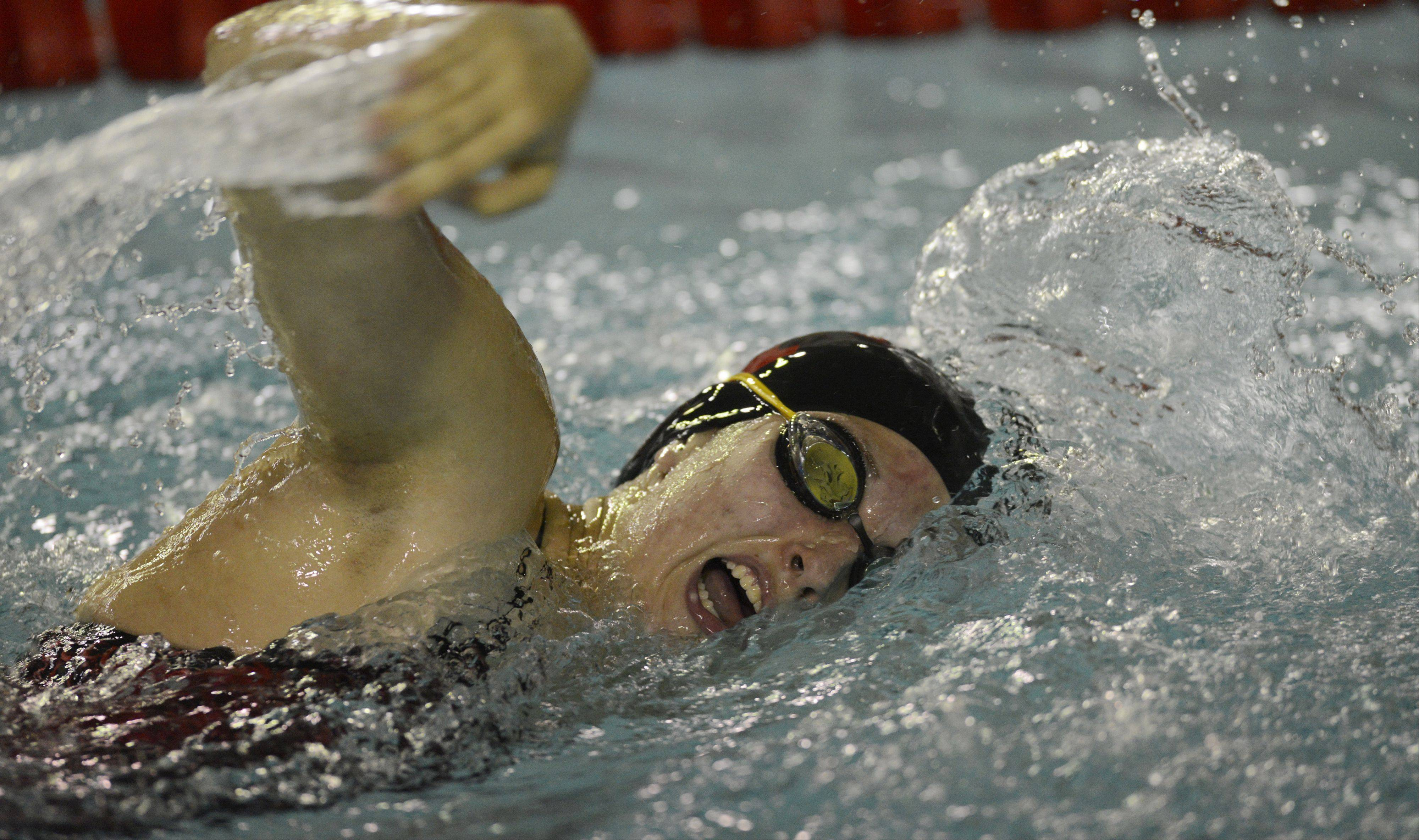Palatine�s Tess O�Brien heads for a victory in the 200-meter freestyle during Wednesday�s meet against visiting Hoffman Estates.