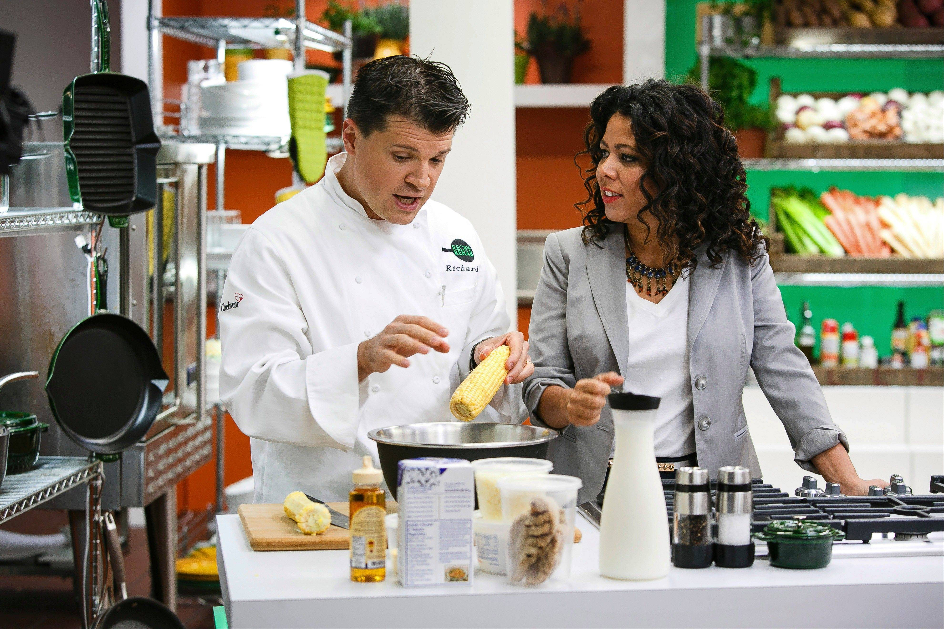 "Chef Rich Rosendale, left, says his greatest challenges come on the set of ""Recipe Rehab,"" a Saturday morning show that will begin airing Sept. 28 on CBS. Here he is with the show's host, Evette Rios, in the California studio."