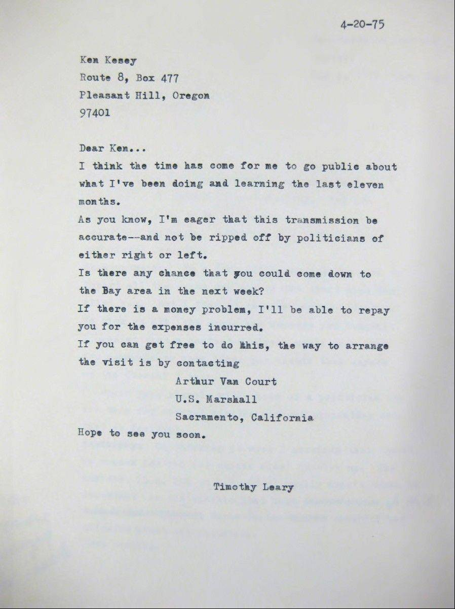 Timothy Leary's April 20, 1975, letter to friend Ken Kesey, written from inside California State Prison in Folsom, where Leary was serving time on drug charges.