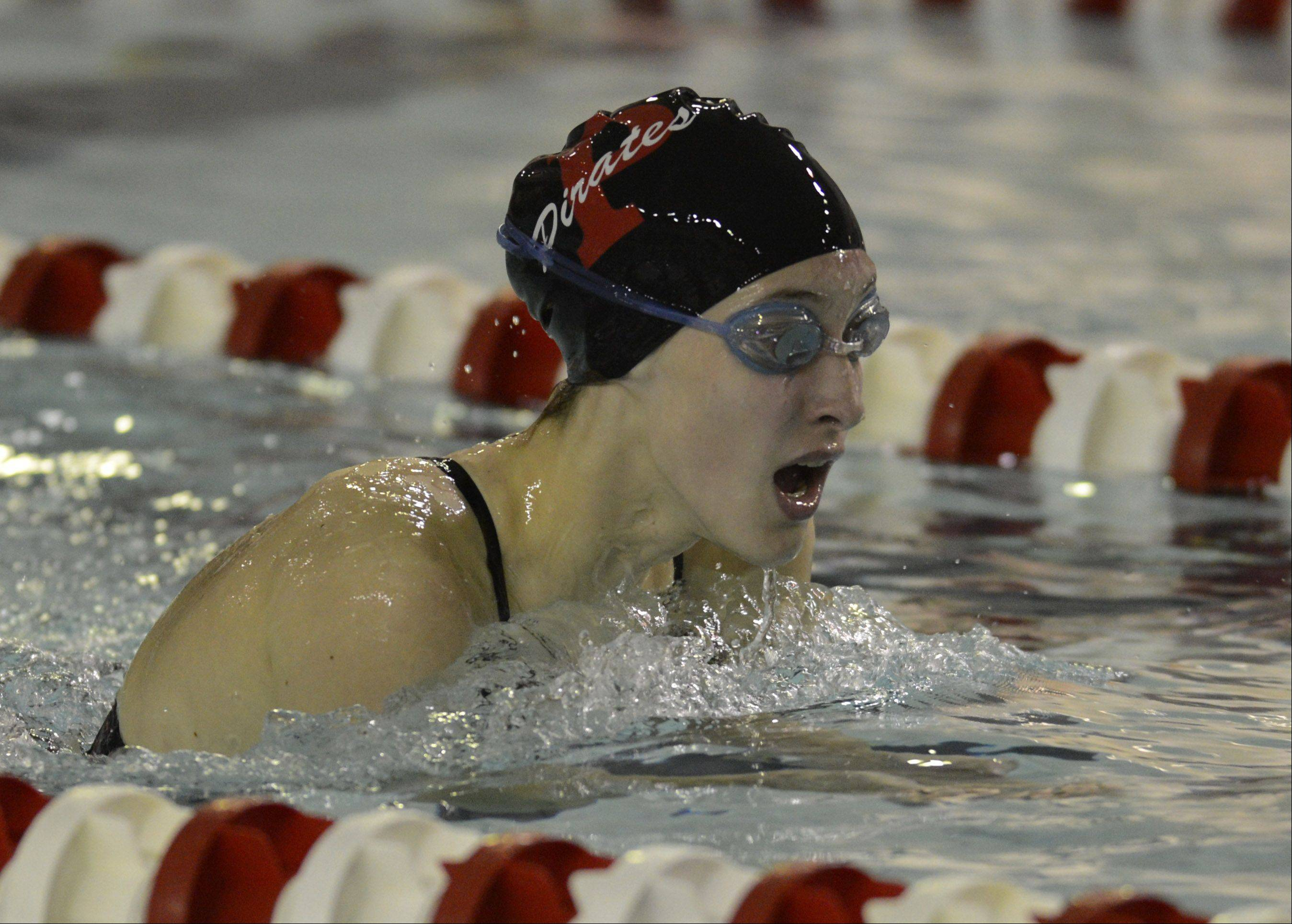 Palatine's Kristin Anderson swims the breaststroke leg of the 200-meter IM during Wednesday's meet with Hoffman Estates.