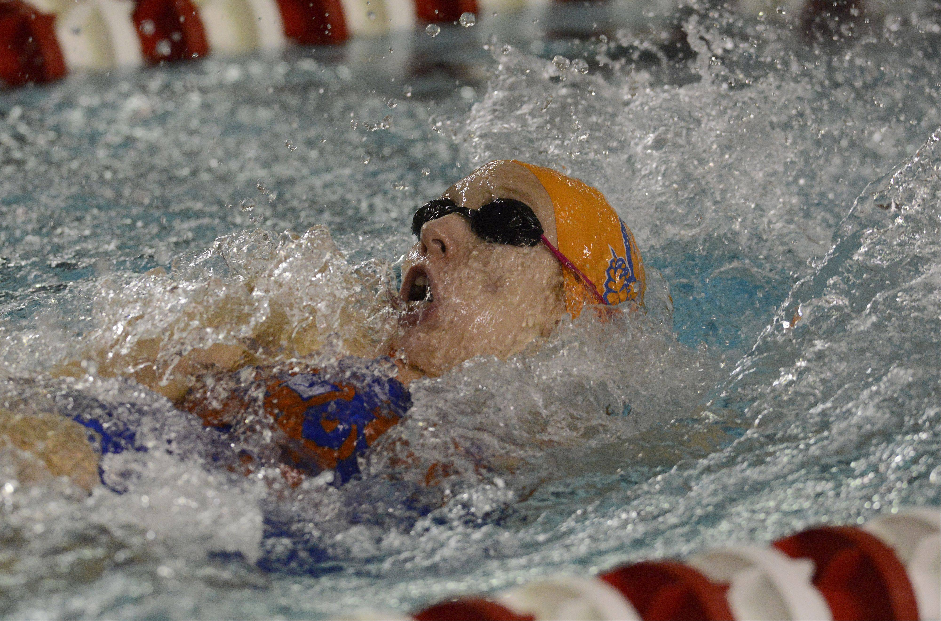 Sarah Miles takes the leadoff leg of Hoffman Estates' winning 200-meter medley relay on Wednesday at Palatine.