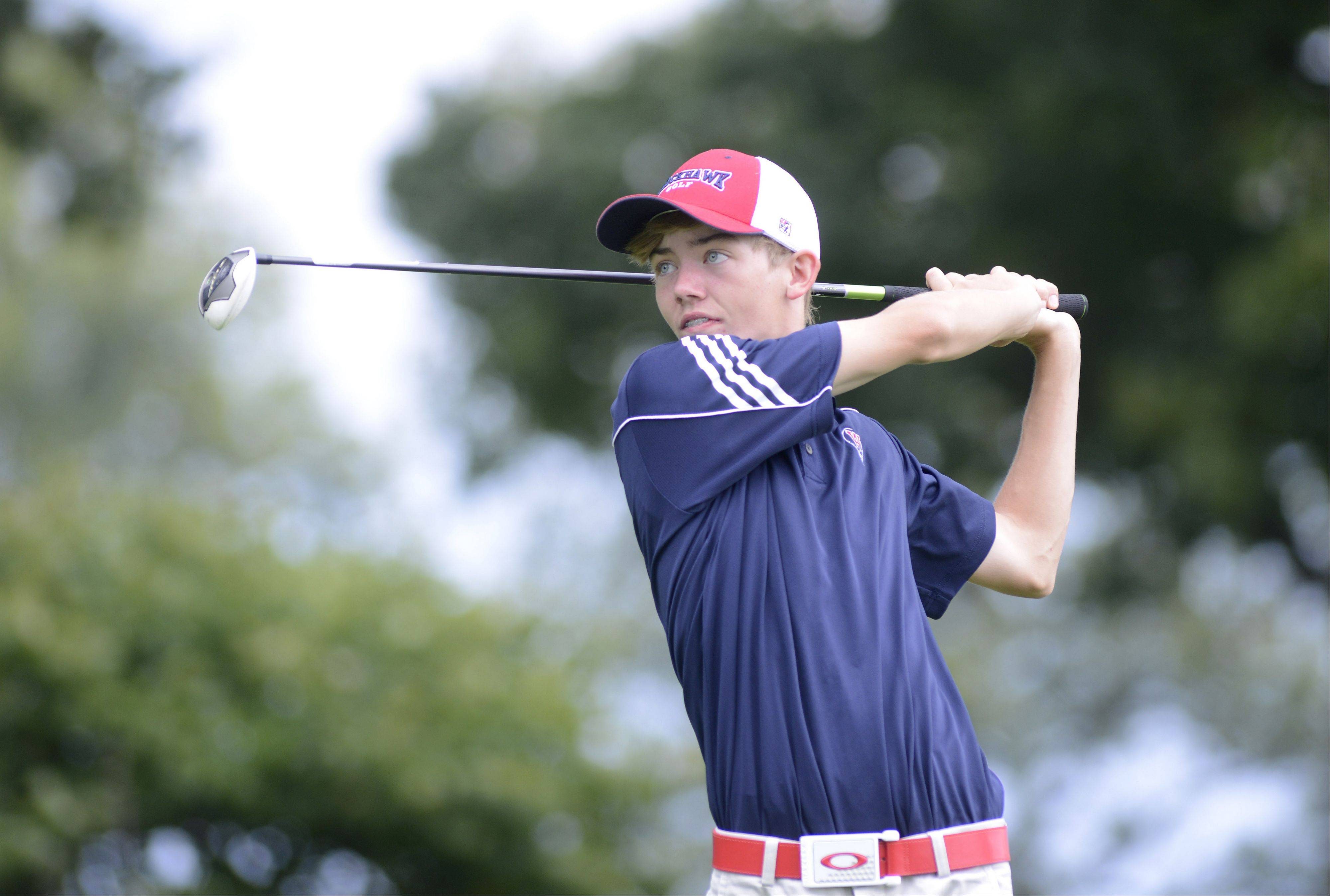 West Aurora's Daniel Newsome tees off at the seventh hole at Phillips Park Golf Course in Aurora on Wednesday, September 18.
