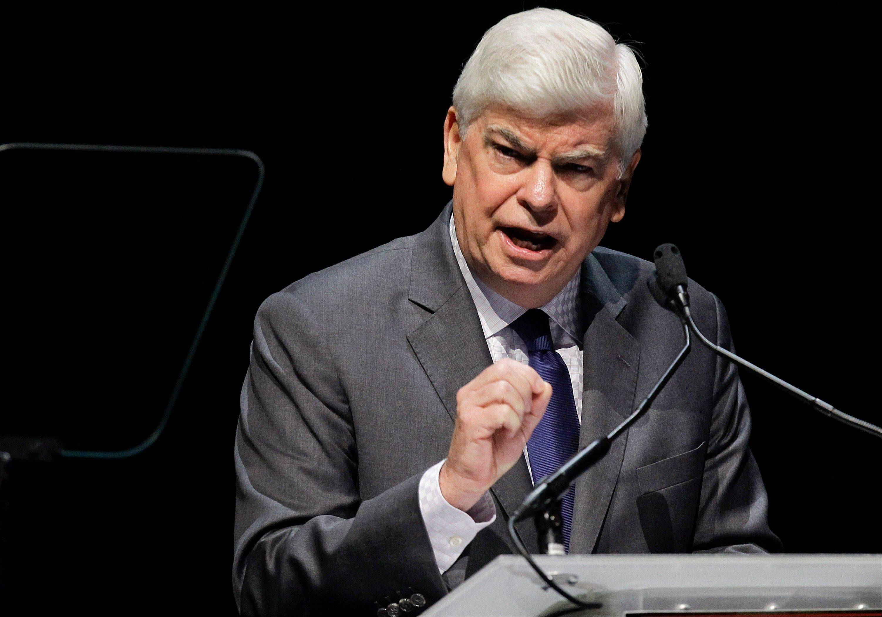 Motion Picture of Association of America of Chief Executive Chris Dodd speaks during his CinemaCon State of the Industry address in Las Vegas.