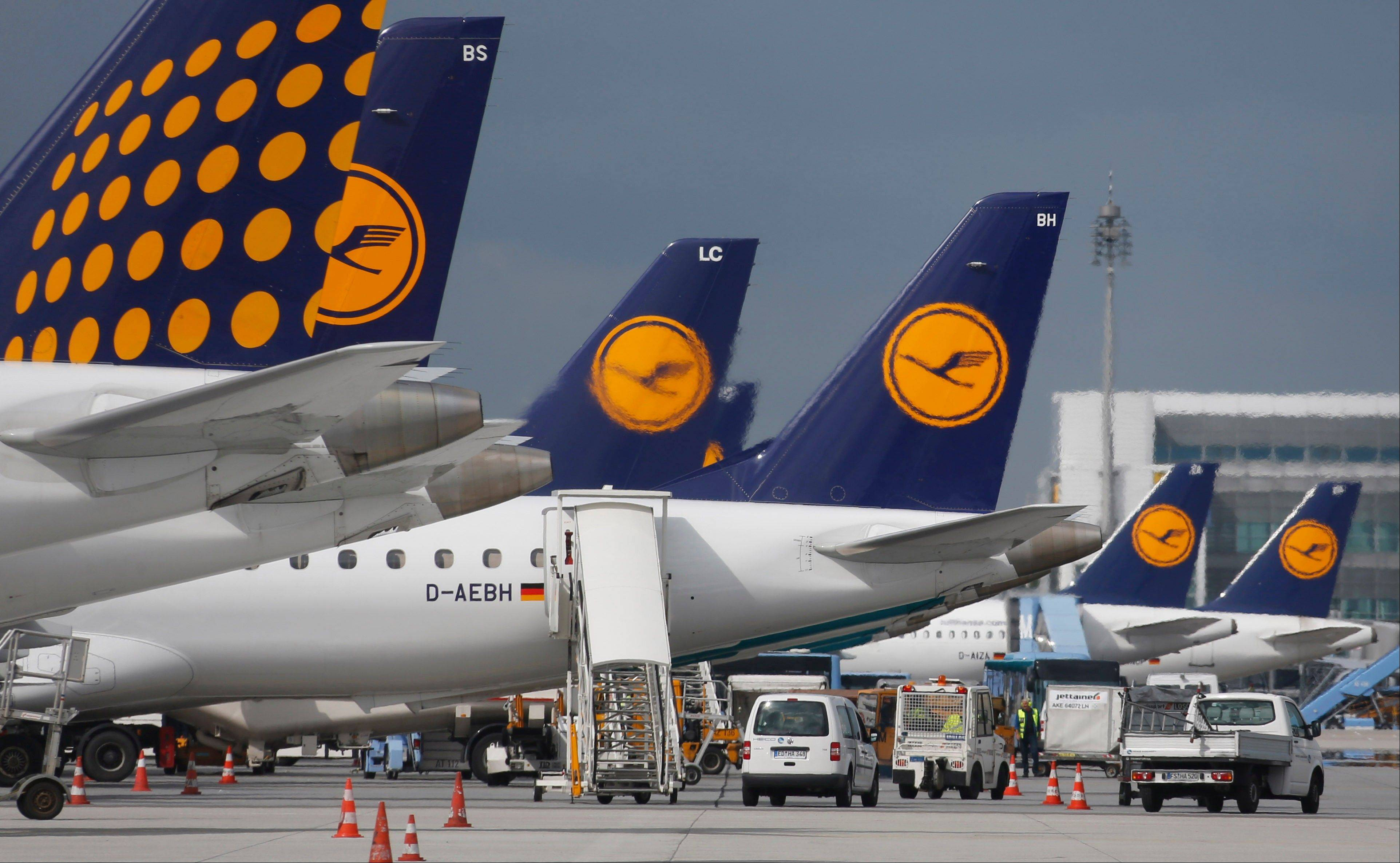 Lufthansa airplanes parked at the international airport in Munich, southern Germany. German airline Lufthansa is ordering 34 new jets from Boeing and 25 from European rival Airbus as it updates its long-haul fleet to make it more fuel efficient and lower costs.
