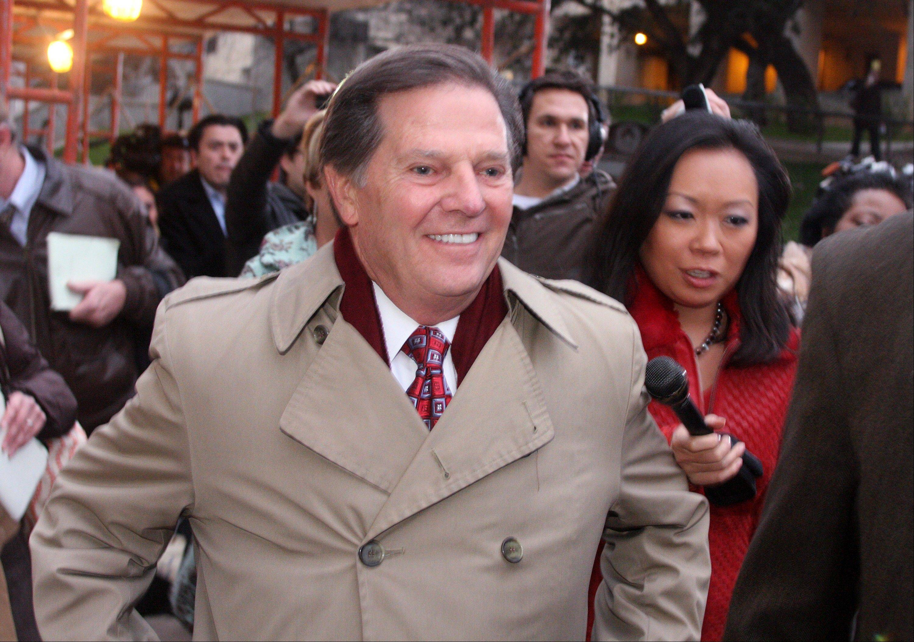 FILE - In this Jan. 10, 2011, file photo, Former House Majority Leader Tom DeLay leaves the Travis Co. Jail after posting an appeals bond in Austin, Texas. A Texas appeals court tossed the criminal conviction of DeLay on Thursday, Sept. 19, 2013, saying there was insufficient evidence for a jury in 2010 to have found him guilty of illegally funneling money to Republican candidates. (AP Photo/Jack Plunkett, File)