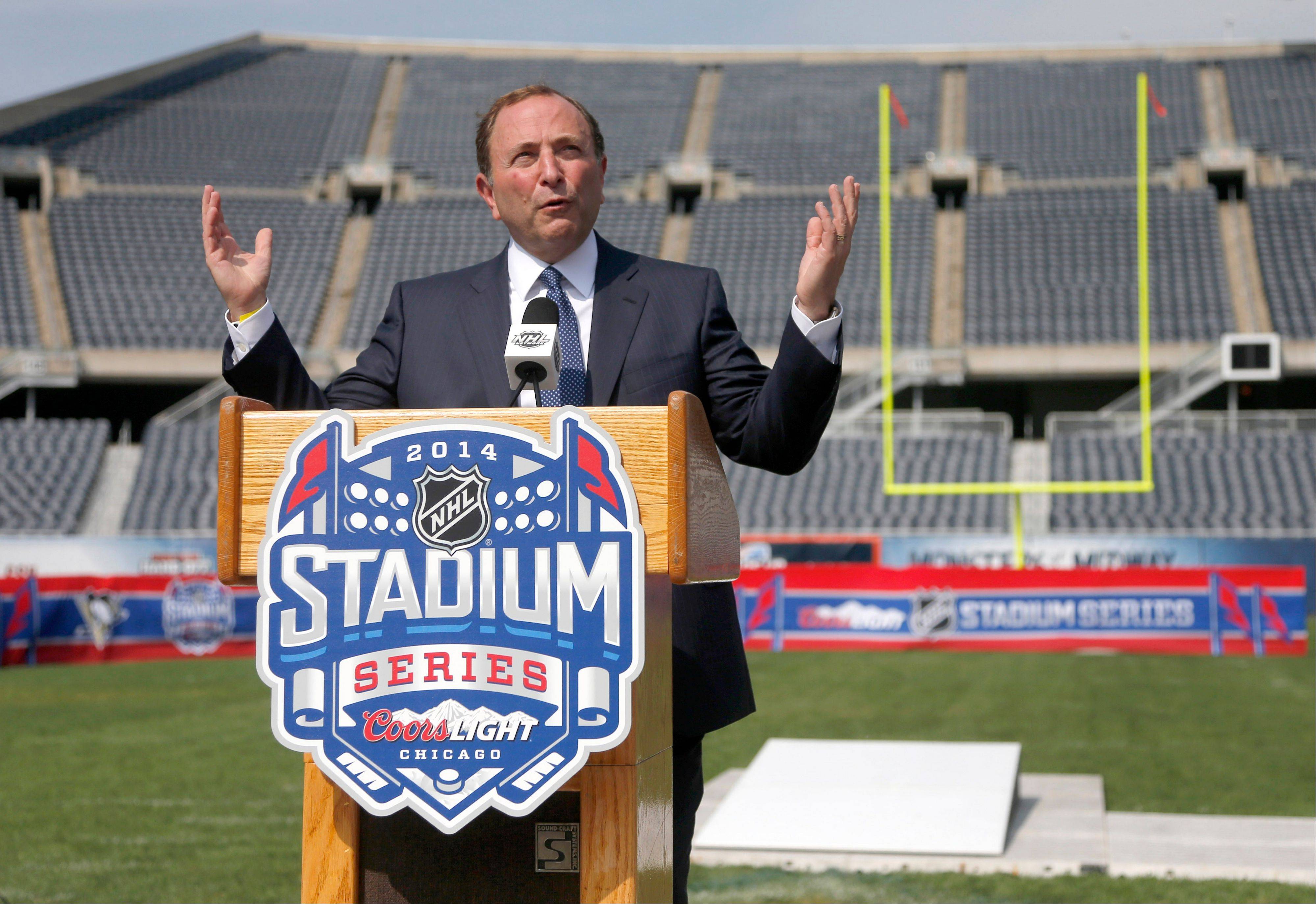 NHL Commissioner Gary Bettman discusses the Stadium Series hockey game between the Blackhawks and Pittsburgh Penguins to be held in March at Soldier Field in Chicago.