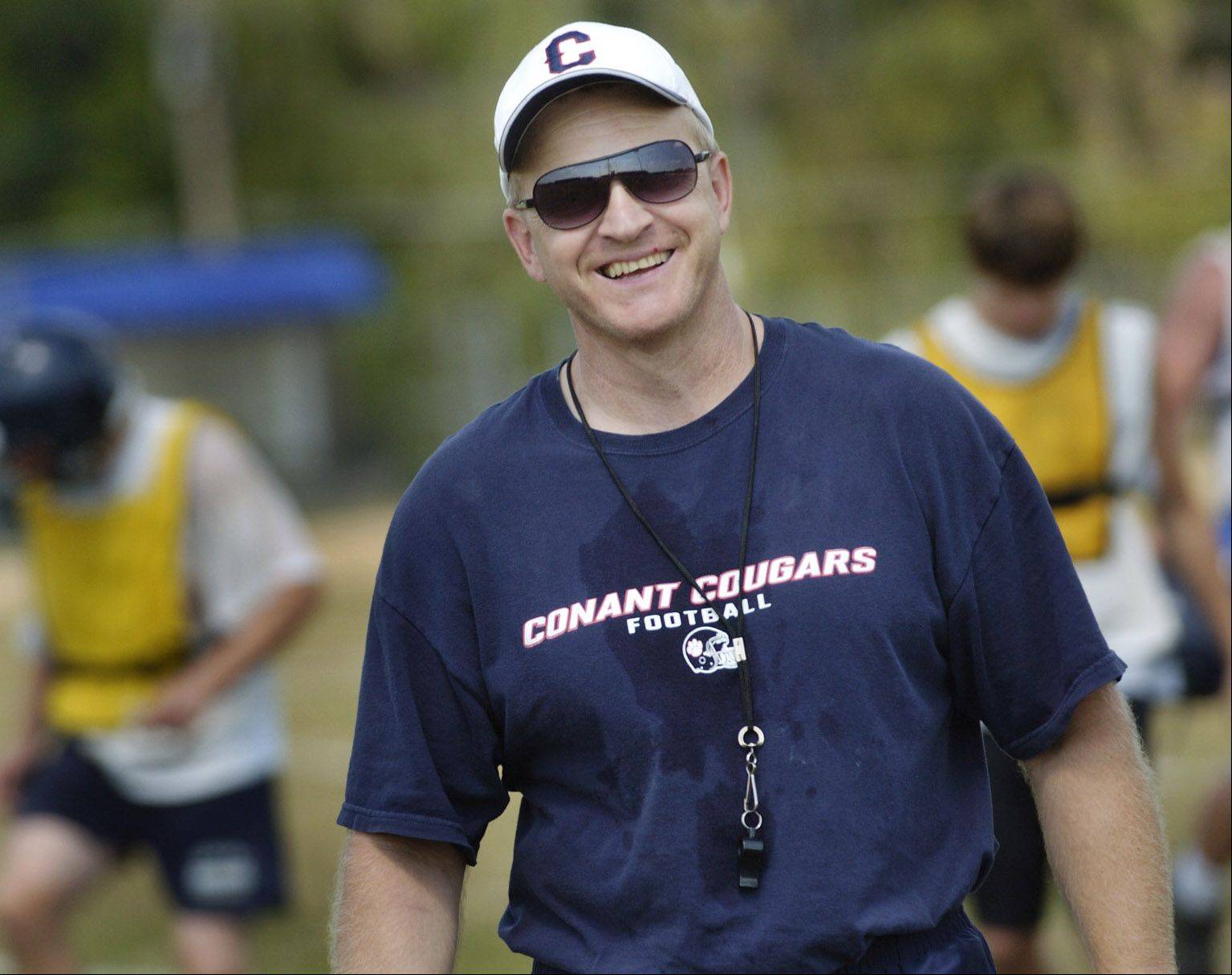 Coach Bill Modelski is enjoying a 3-0 start for the Conant team which features his senior son Danny at quarterback.