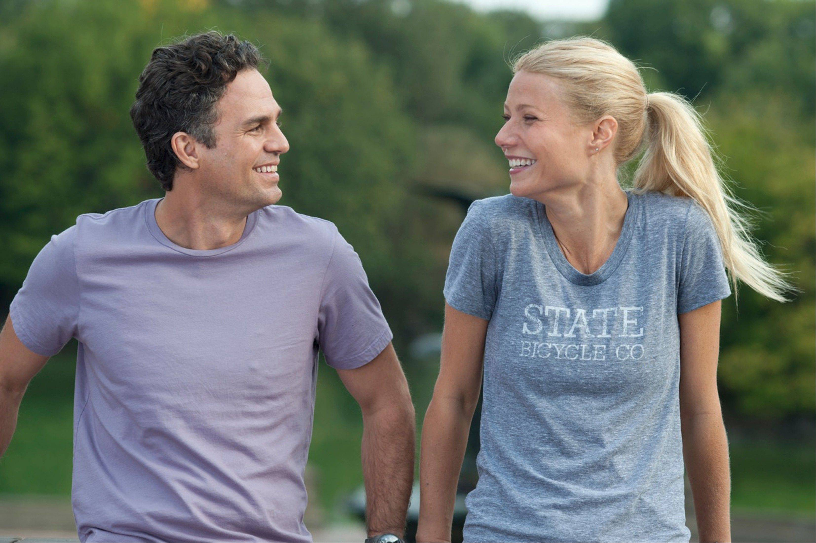 "Adam (Mark Ruffalo) falls for a fitness nut (Gwyneth Paltrow) in the sex addict drama ""Thanks for Sharing."""