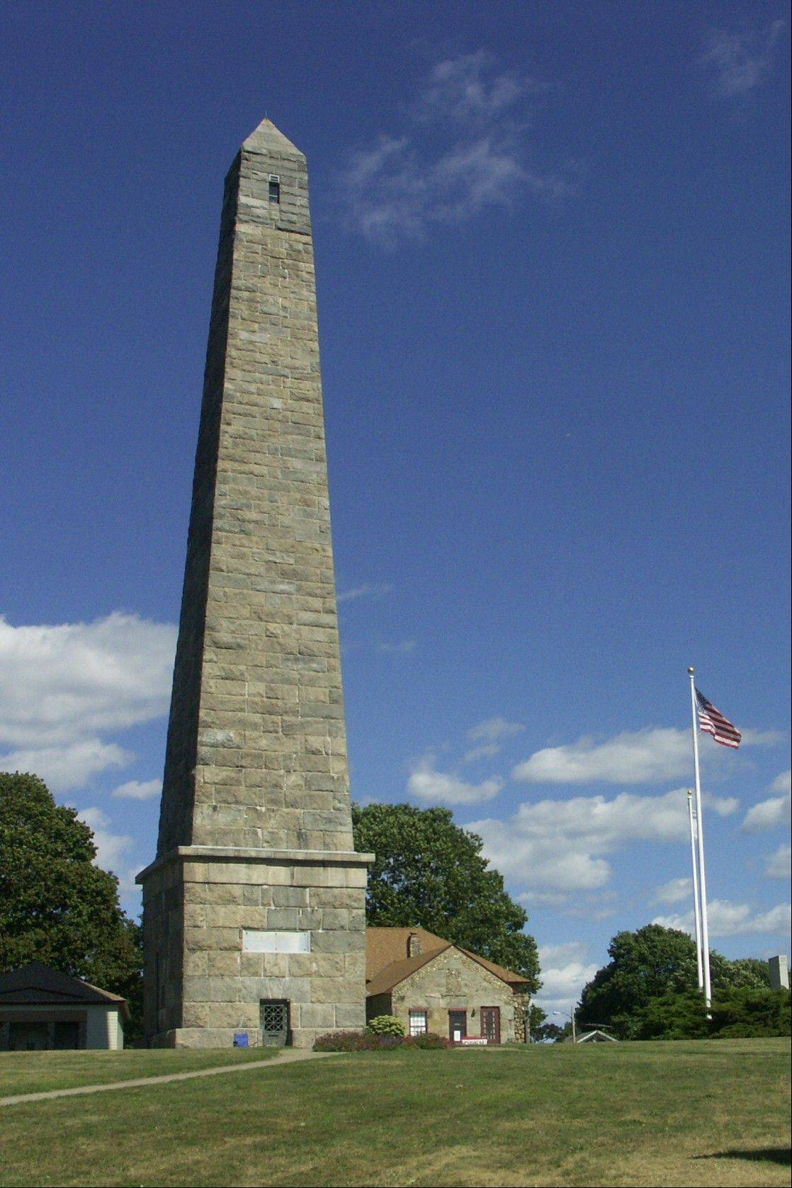 The Groton Monument at Fort Griswold Battlefield State Park in Groton, Conn., was erected around 1830 to commemorate a 1781 Revolutionary War battle in which British forces, commanded by Benedict Arnold, captured the fort and killed 88 of the 165 defenders.