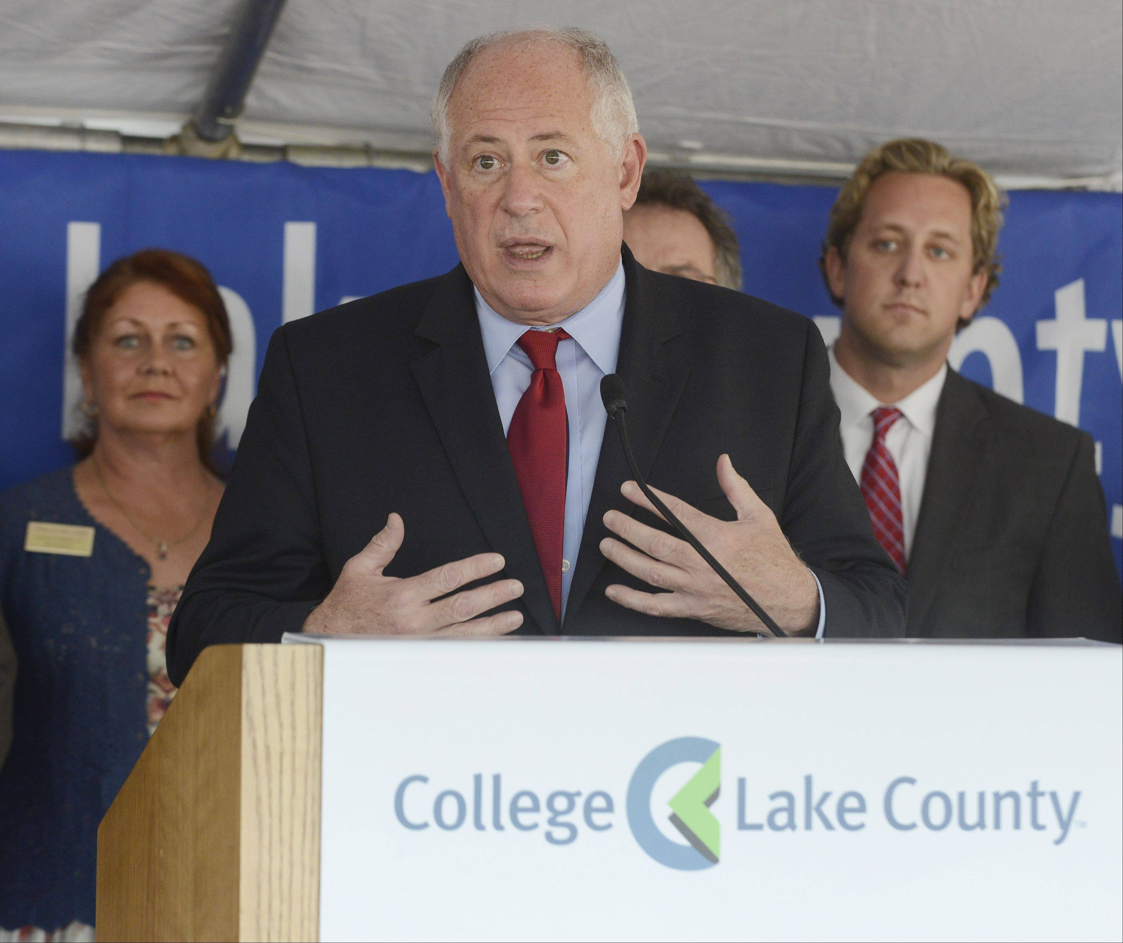JOE LEWNARD/jlewnard@dailyherald.comGov. Pat Quinn says the state will release $36 million toward new construction and building renovations for expansion of College of Lake County's Lakeshore Campus in downtown Waukegan.