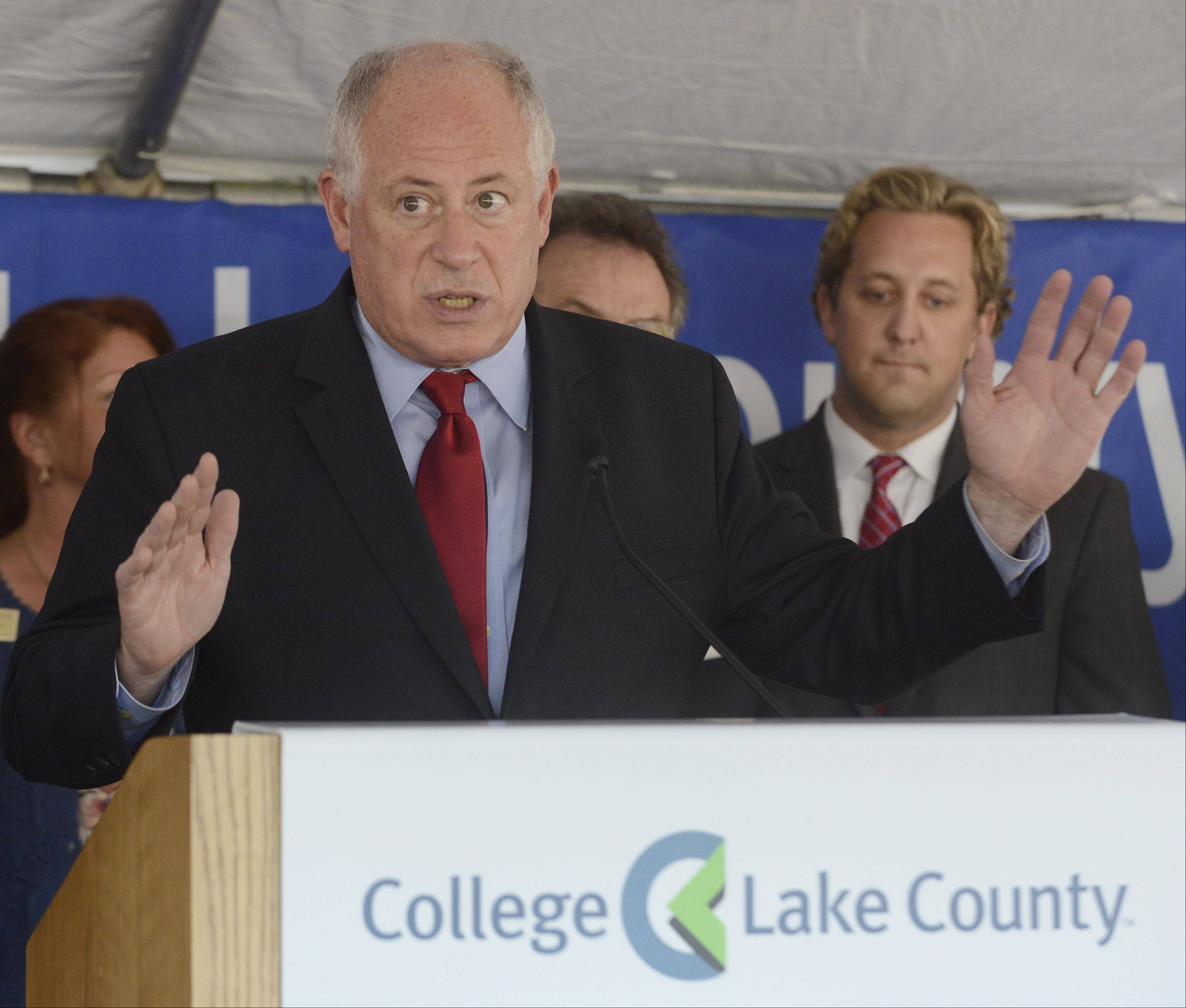 JOE LEWNARD/jlewnard@dailyherald.comGov. Pat Quinn was among the dignitaries for an announcement Thursday on the state releasing $36 million for expansion of College of Lake County's downtown Waukegan campus.