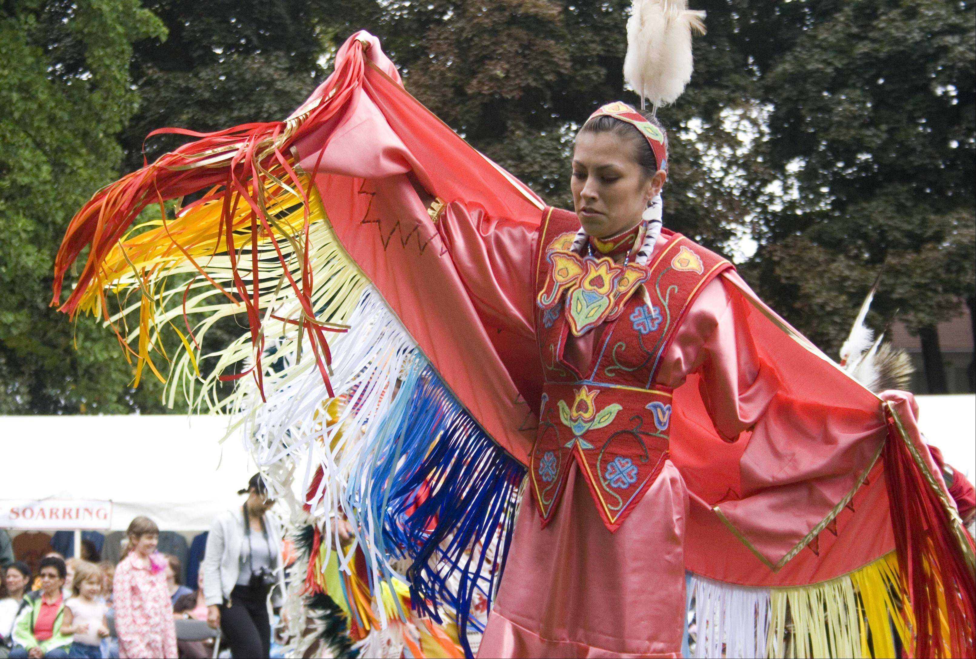 The Grand Entry is a highlight of the annual Harvest Pow Wow returning Saturday and Sunday, Sept. 21 and 22, to Naper Settlement, and it takes place three times over the weekend. About 100 dancers proceed in during the traditional ceremony, which opens the formal program of the pow wow.