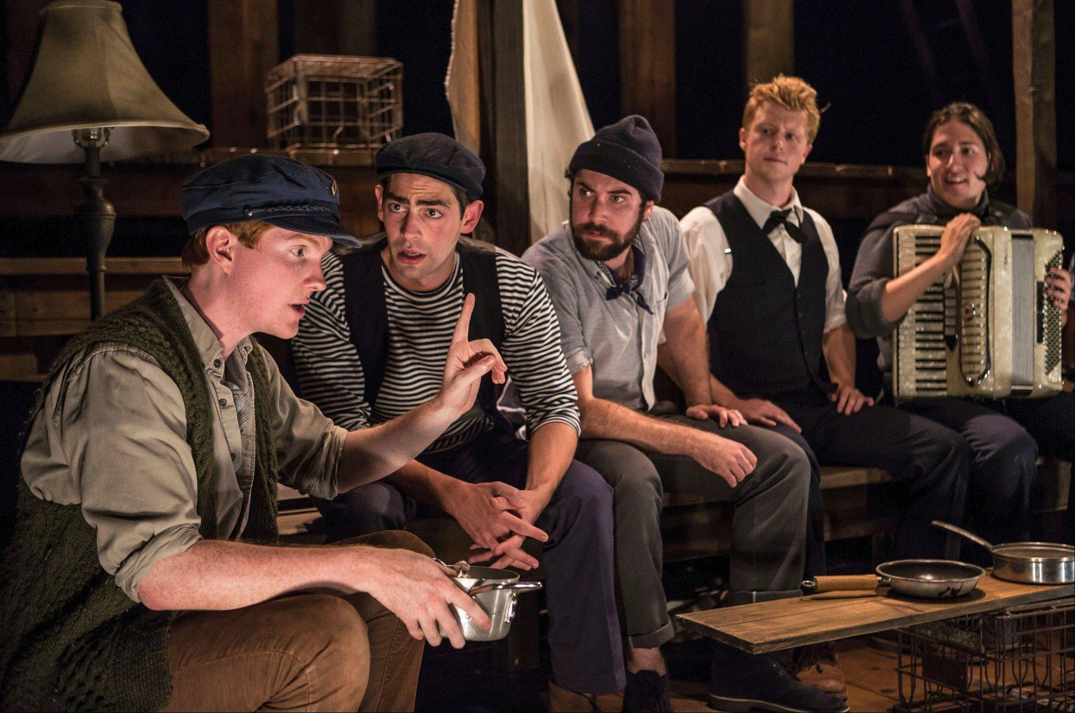 "courtesy of Liz LaurenThe Old Man (Ryan Melia), left, regales his fellow crew members (Curtis Gillen, left, Ben Ferguson, Matt Nuernberger and Dan Weschler) with sea tales in PigPen Theatre's enchanting, ""The Old Man and The Old Moon"" at Writers Theatre."