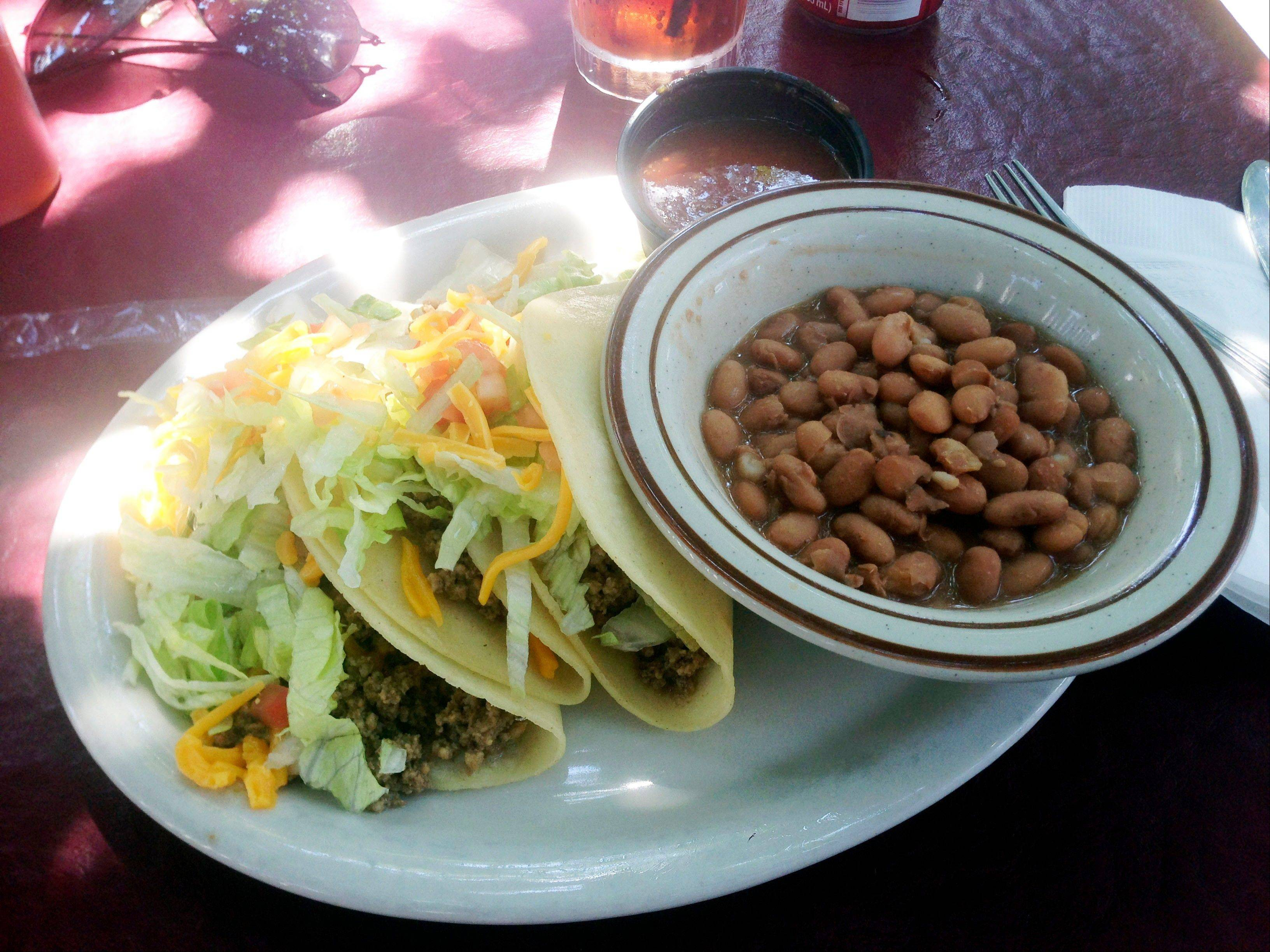 A soft taco plate is a popular dish at El Patio de Albuquerque.