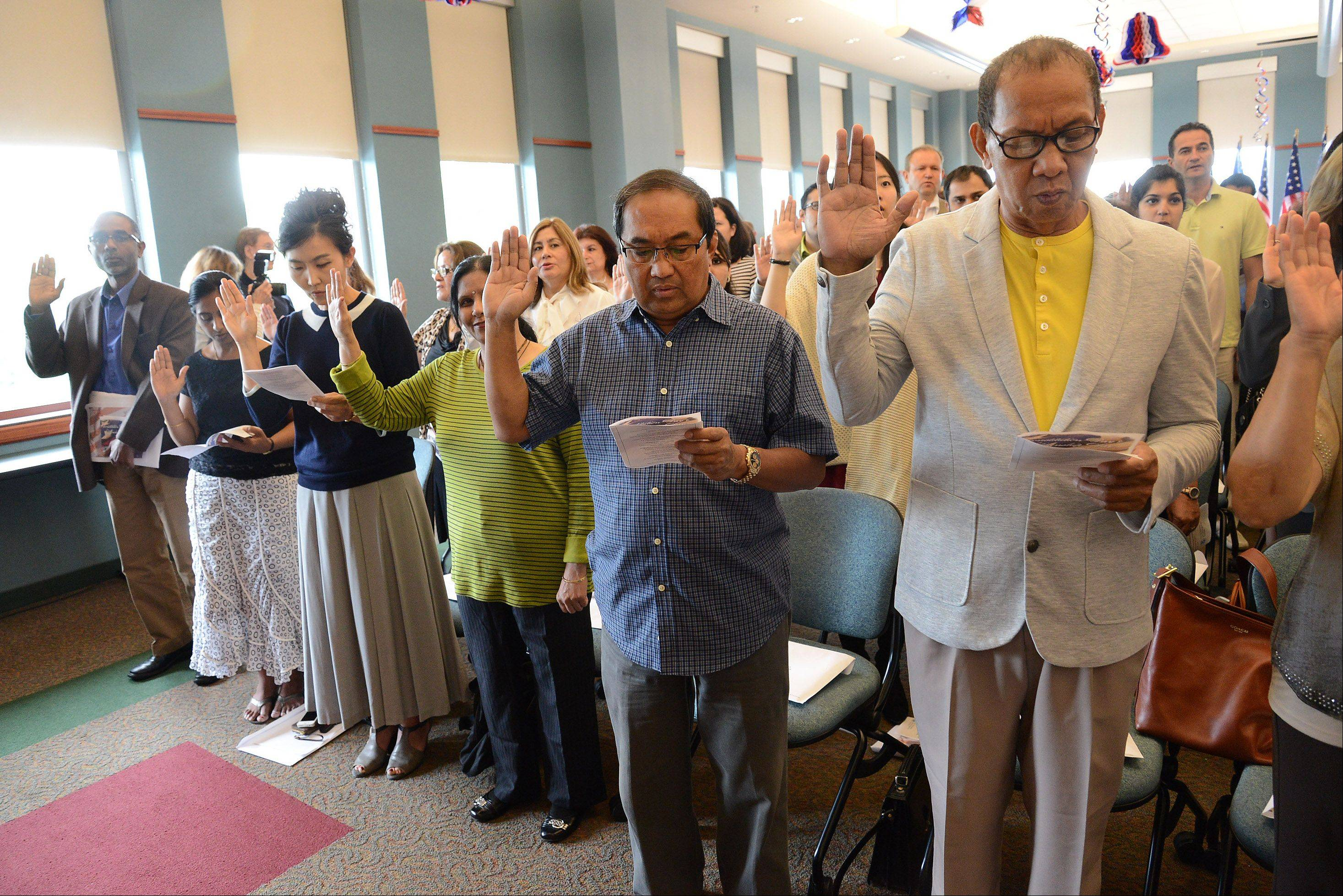 More than 70 people became U.S. citizens during a naturalization ceremony at the Schaumburg Township District Library Friday.
