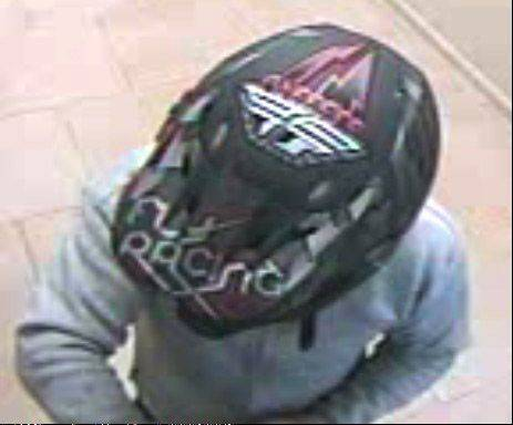 A detail shot of the helmet worn by a robbery suspect from Thursday, Sept. 19, at the Associated Bank at 34354 N. Route 45 in Third Lake.