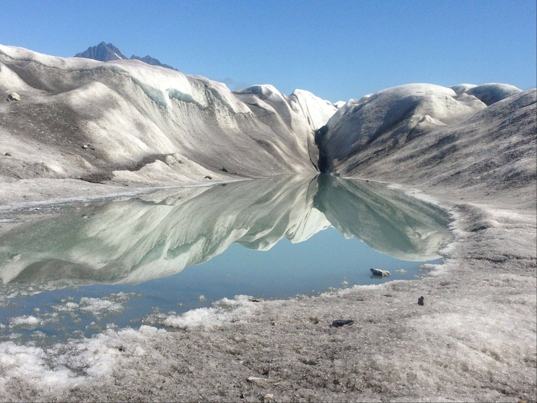 A beautiful pool on the Sheridan Glacier in Cordova, Alaska on July 29.
