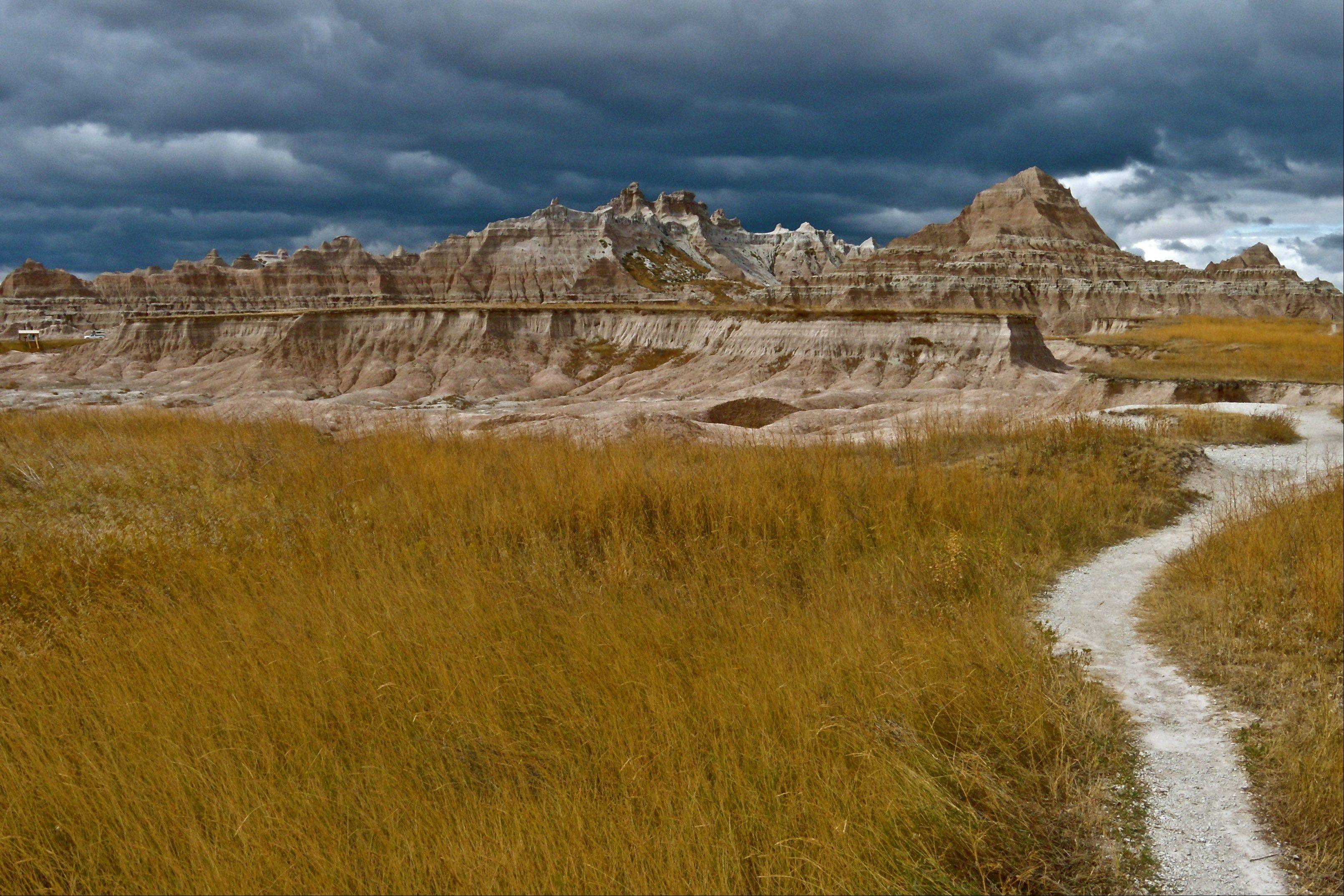 I took this picture while hiking a trail in Badlands National Park, South Dakota. It looked like we were in for a storm, but it blew by and rained on another part of the park.