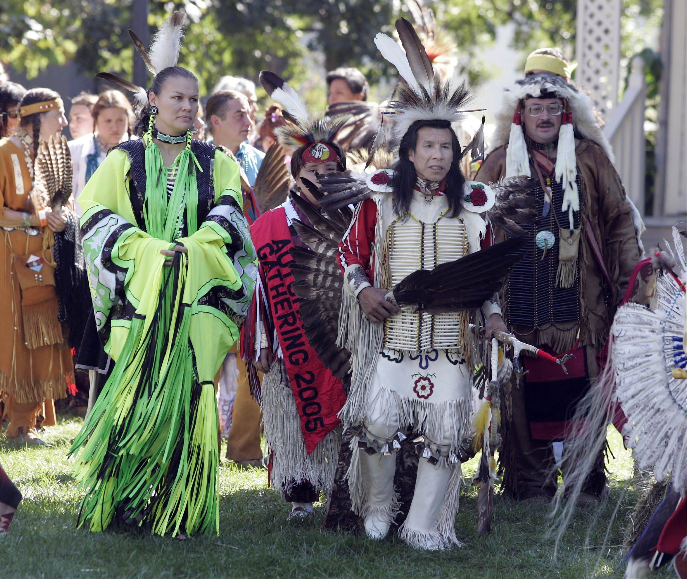 About 100 dancers in brightly colored regalia will enter the Naper Settlement grounds at 1 and 7 p.m. Saturday and 1 p.m. Sunday during the 19th annual Midwest SOARRING Foundation Harvest Pow Wow.