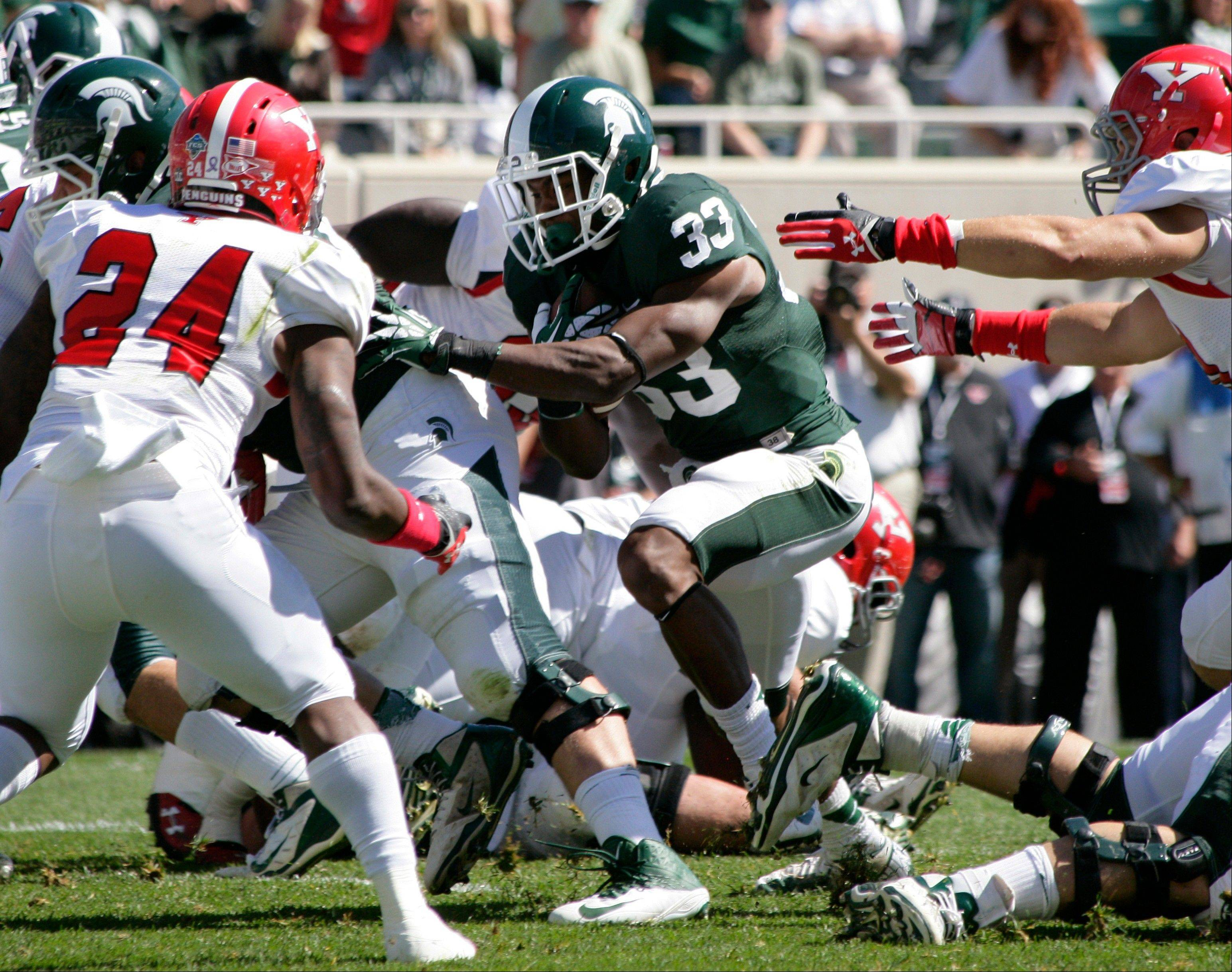 Michigan State's Jeremy Langford rushes for a touchdown against Youngstown State during last weekend's game in East Lansing, Mich.