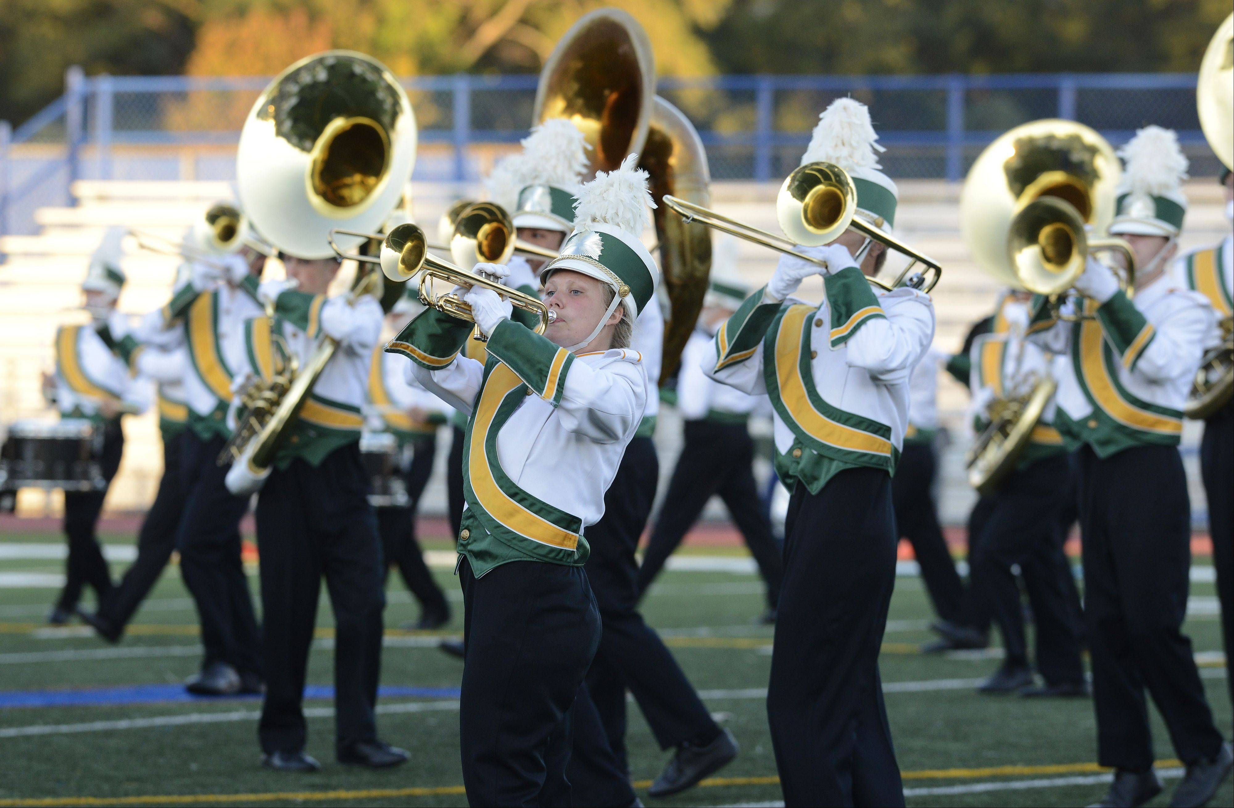 The Waubonsie Valley Marching Warriors perform Saturday during the annual Chicagoland Marching Band Festival at Wheeling High School.
