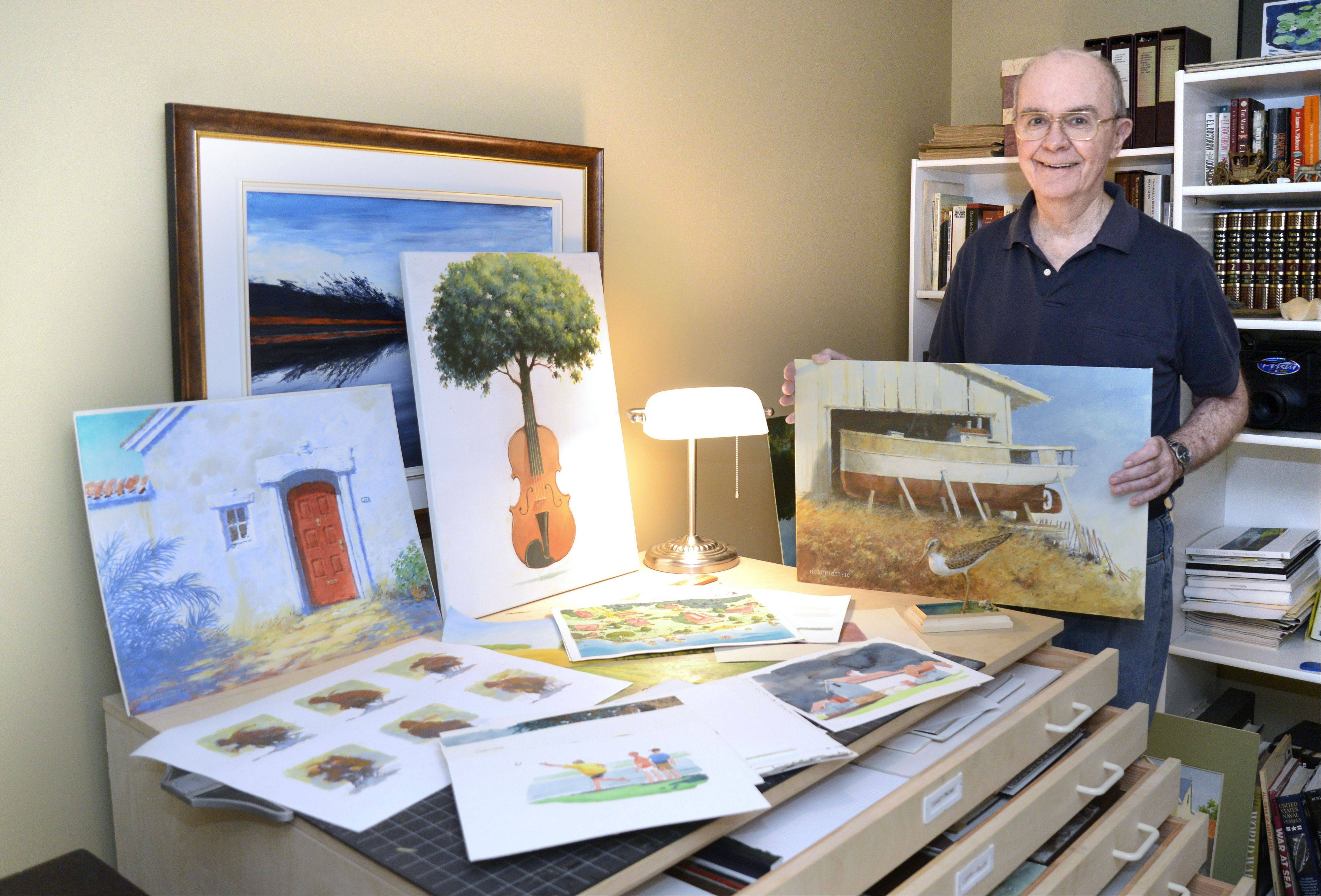 Bert Hoddinott Jr., 80, of St. Charles is a former graphic designer and has painted, drawn and crafted wooden carvings since he was a child. Though he has never shown his extensive collection of work in a gallery, he recently published a book of his work.