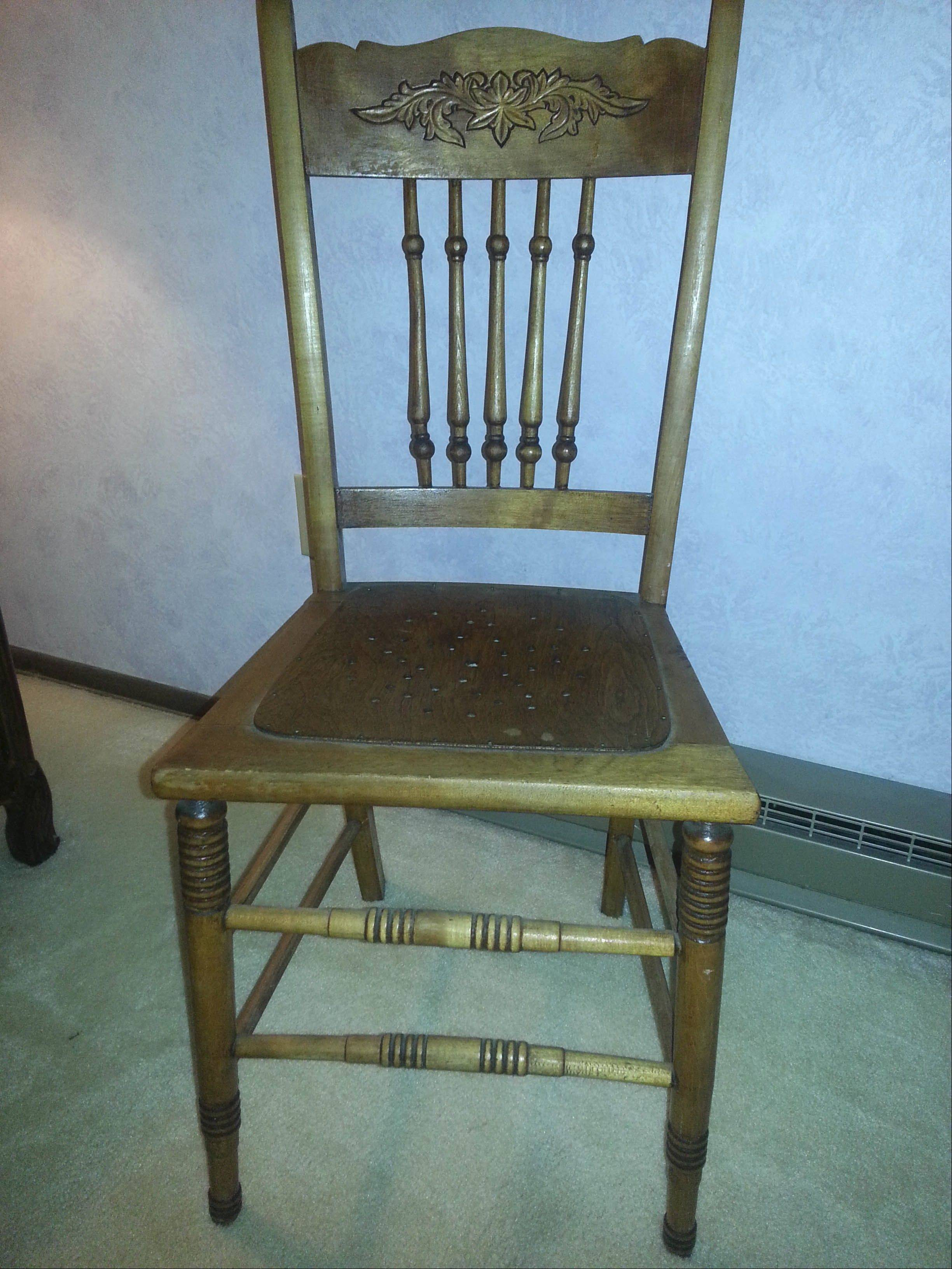 Oak pressed-back dining-room chairs made circa 1910. & Green paint aside these old chairs are quite nice