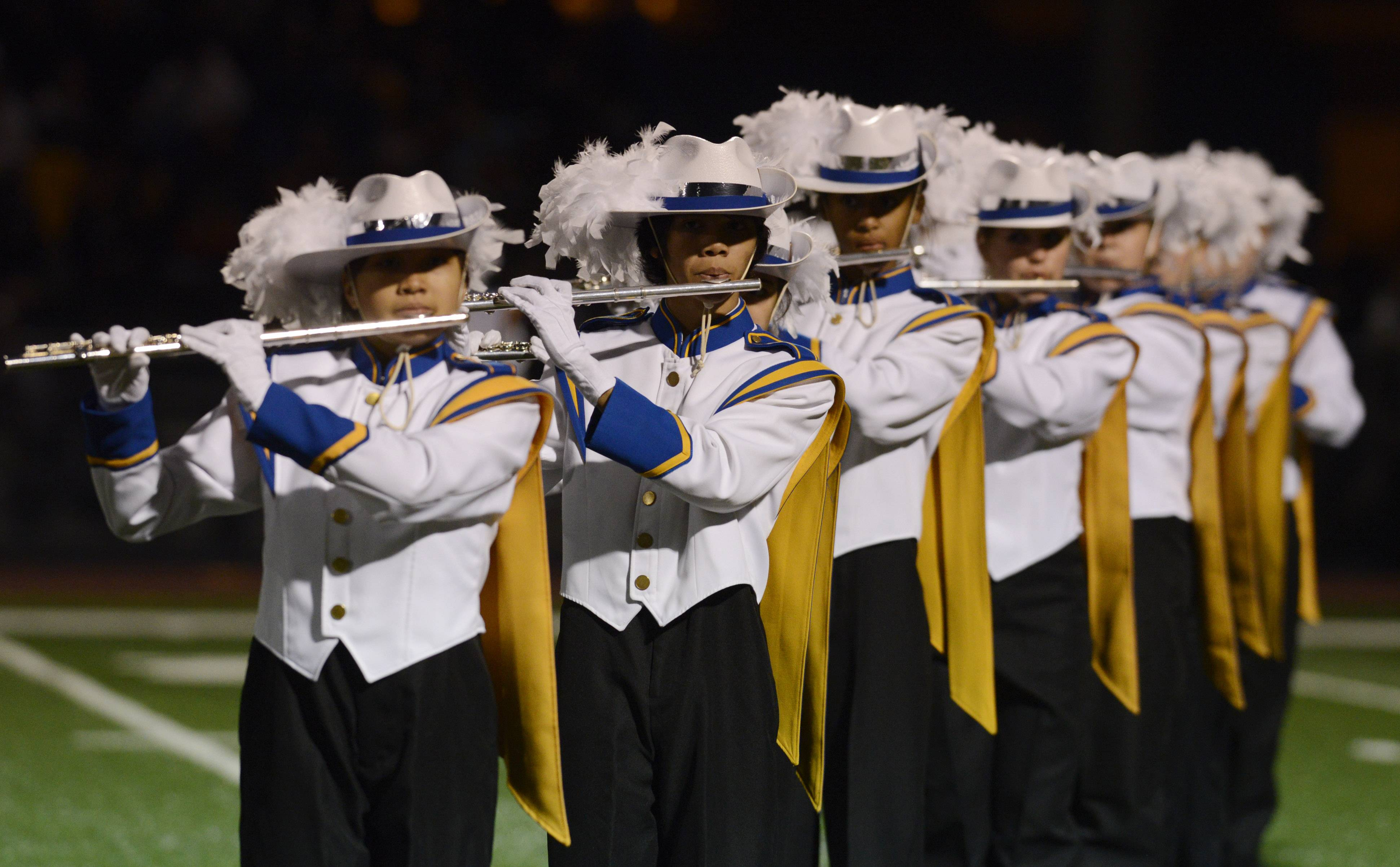The Warren High School Marching Band performs Saturday during the annual Chicagoland Marching Band Festival at Wheeling High School.