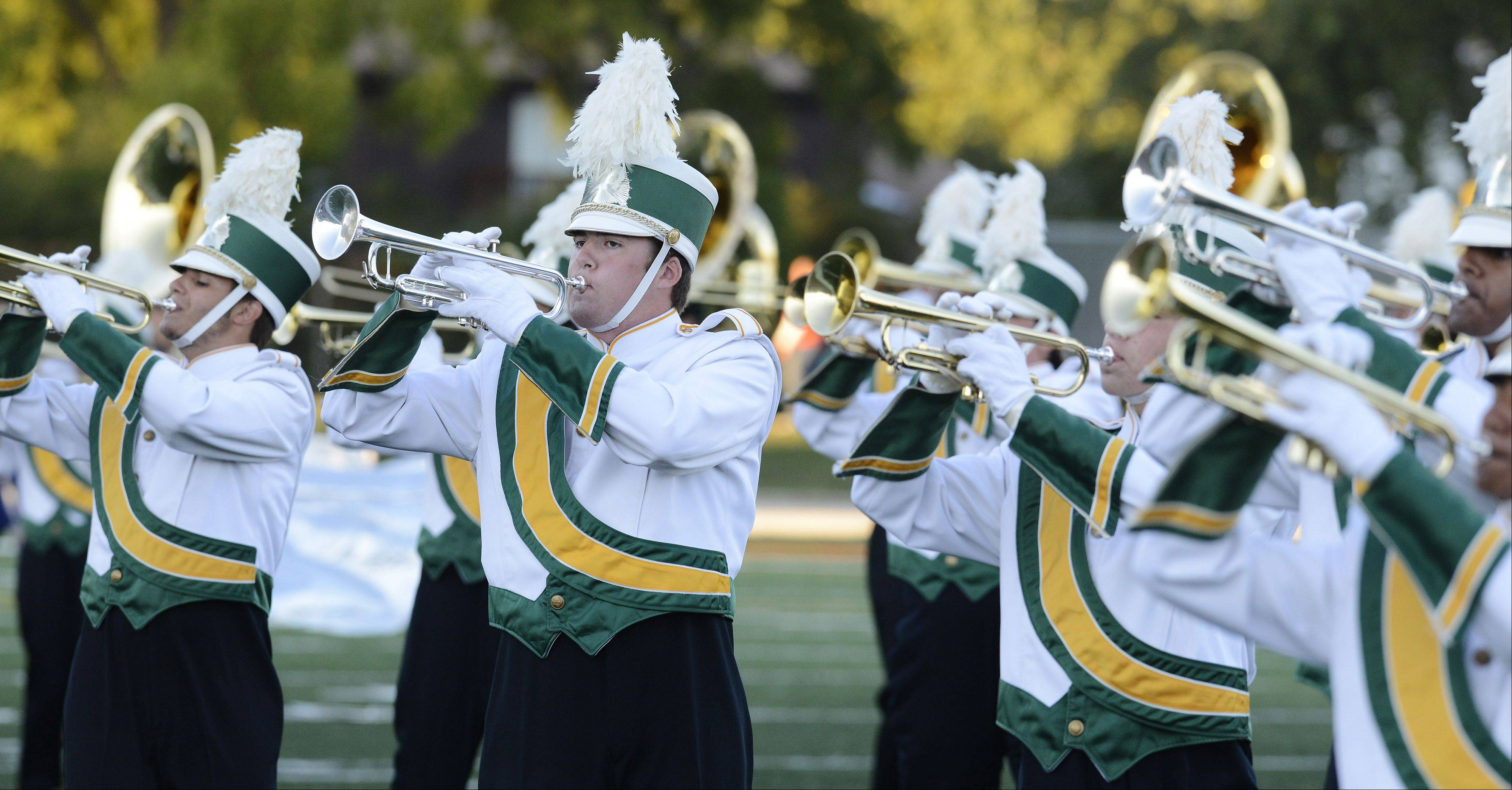 The Waubonsie Valley Marching Warriors perform during the annual Chicagoland Marching Band Festival at Wheeling High School Saturday.