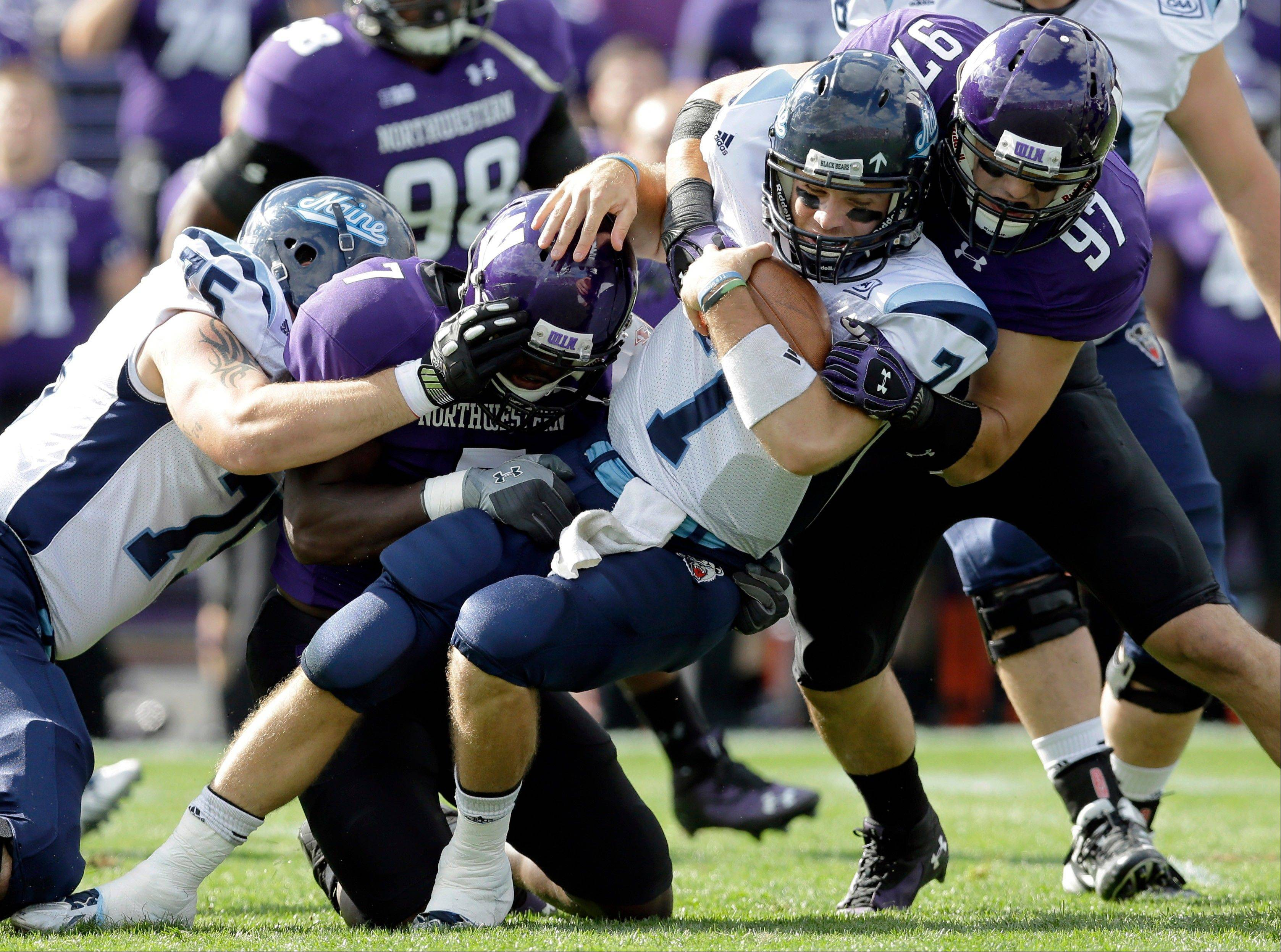 Maine quarterback Marcus Wasilewski is tackled by Northwestern's Ifeadi Odenigbo (7) and Tyler Scott (97) during the first quarter of Saturday's game in Evanston.