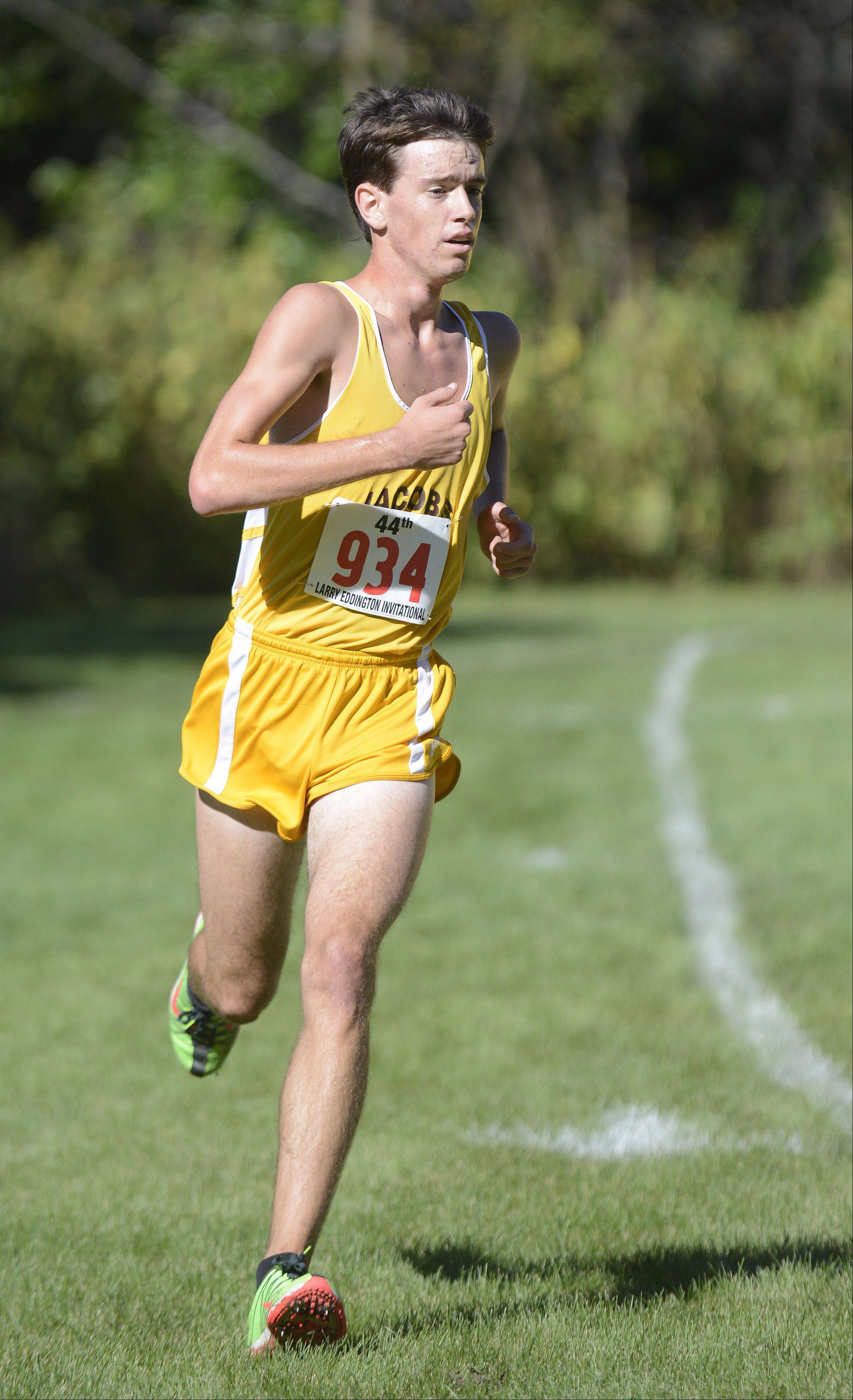 Jacobs' Matthew Johnson nears the finish line to take second place at the Kaneland Invitational cross country meet in Elburn on Saturday, September 21.