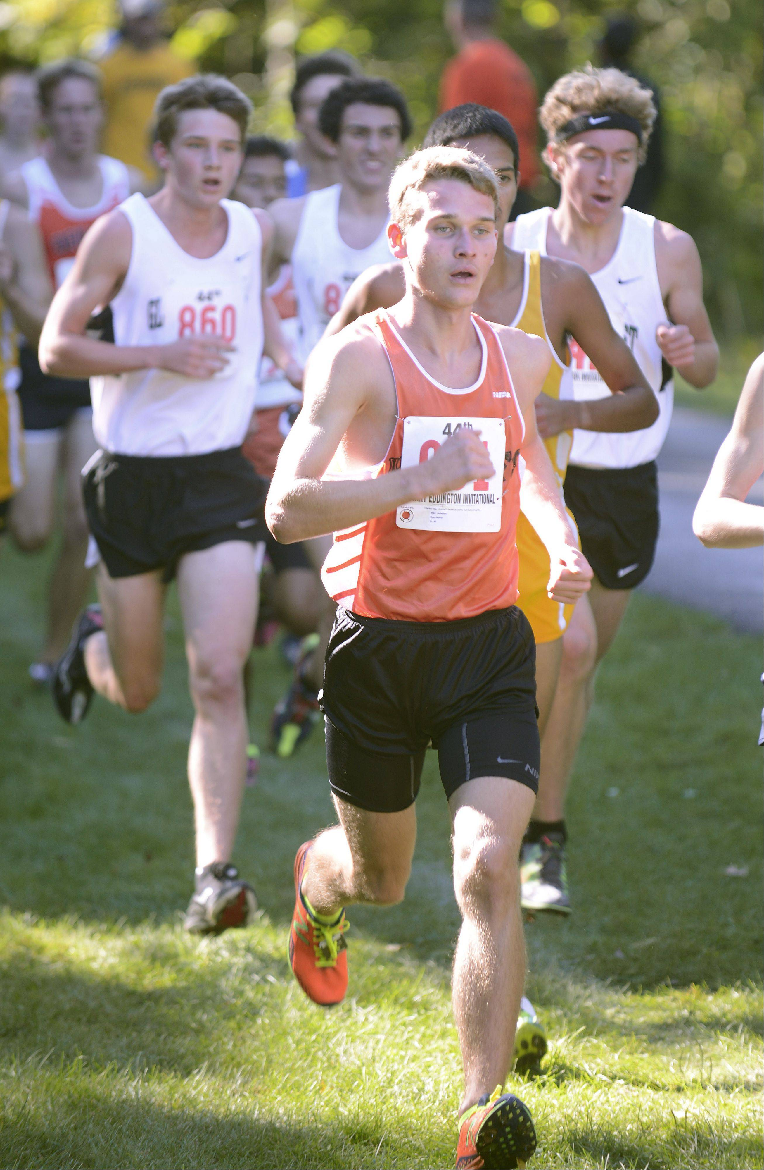 Kaneland's Ryan Bower runs the Elburn Woods course Saturday at the Eddington Invitational.