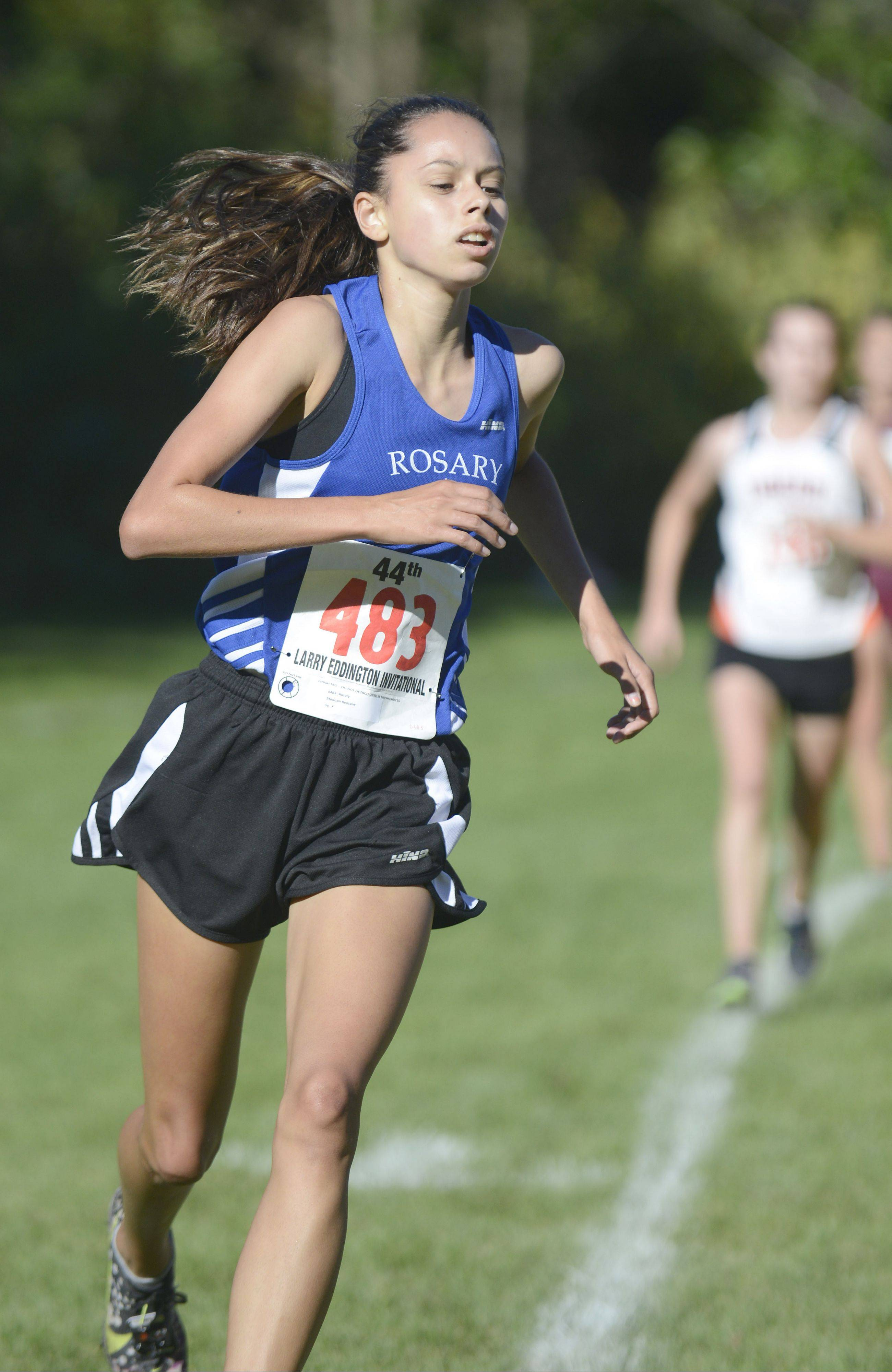 Rosary's Madison Ronzone takes first place for the Royals and fifteenth overall at the Kaneland Invitational cross country meet in Elburn on Saturday, September 21.