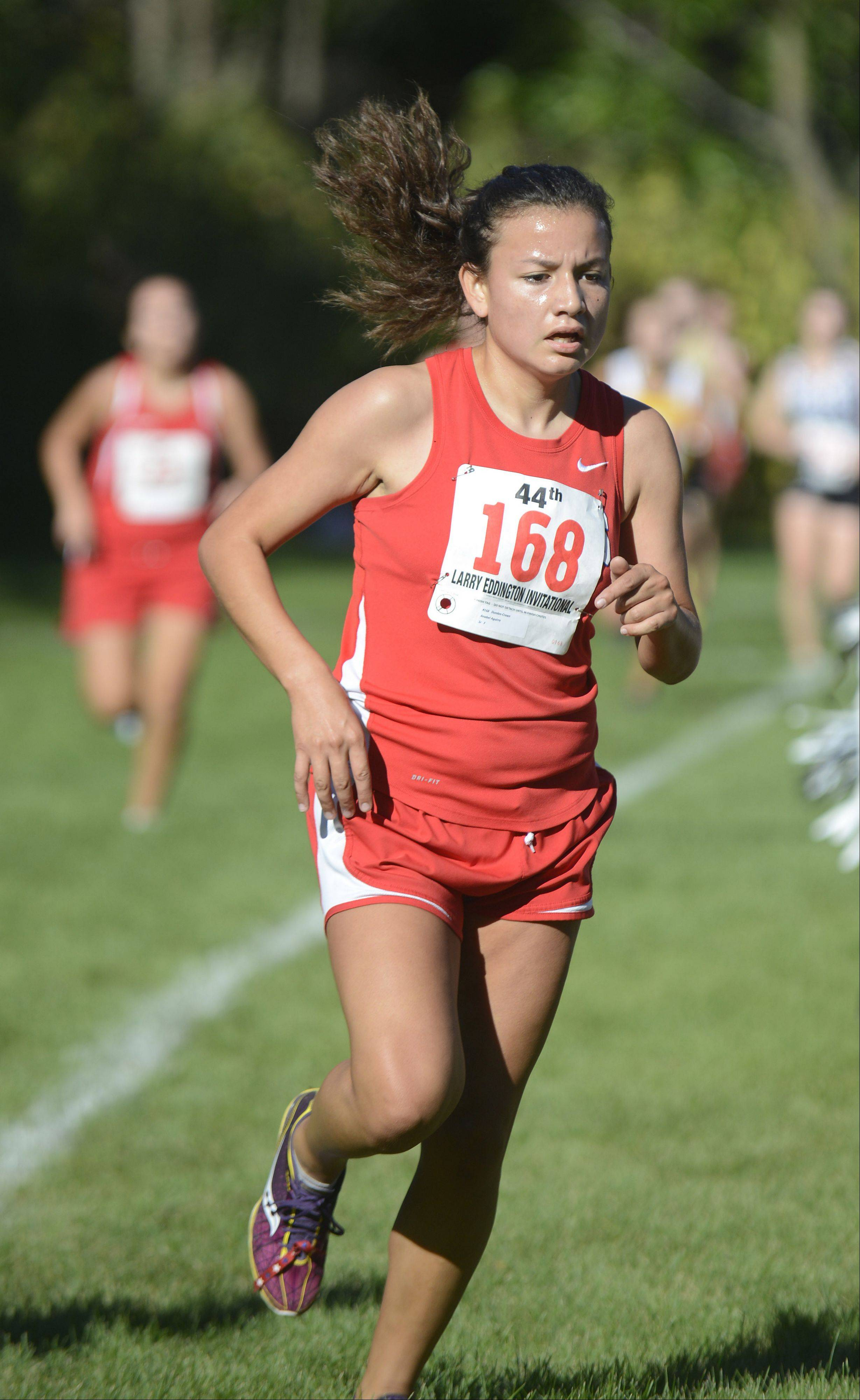 Dundee-Crown's Anabel Aguirre comes in first for her team and takes 43rd place overall at the Kaneland Invitational cross country meet in Elburn on Saturday, September 21.
